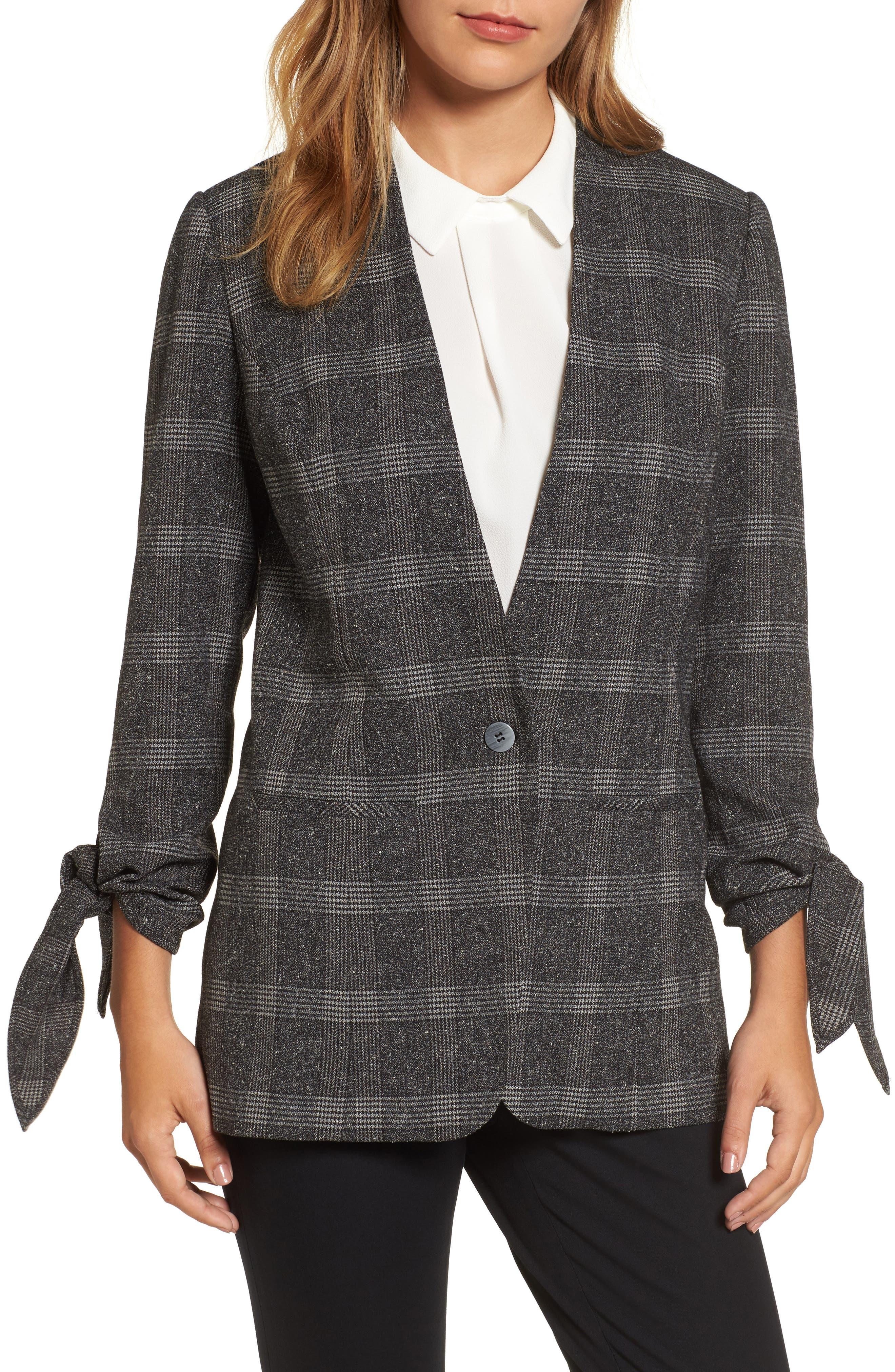 Halogen® Tie Sleeve Blazer (Regular & Petite)