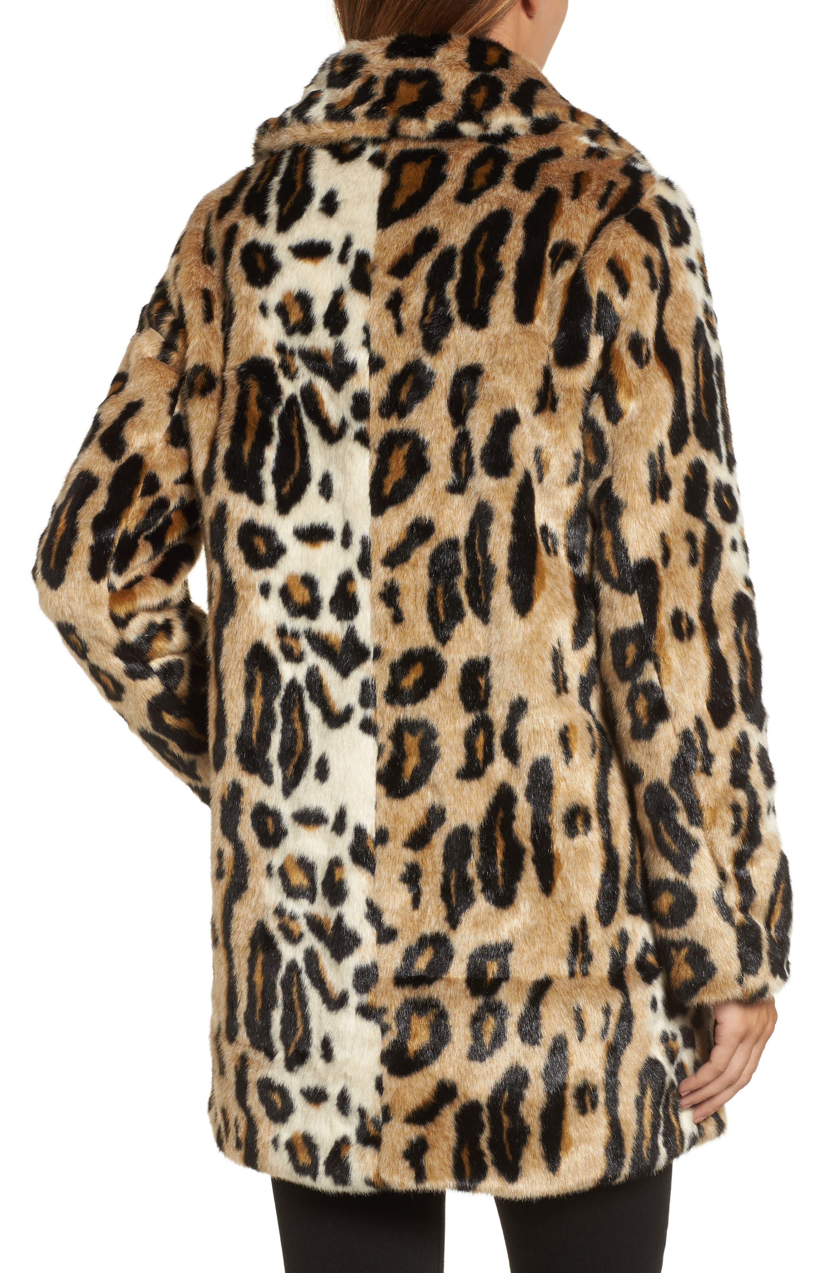 Leopard Spot Reversible Faux Fur Coat,                             Alternate thumbnail 2, color,                             Leopard