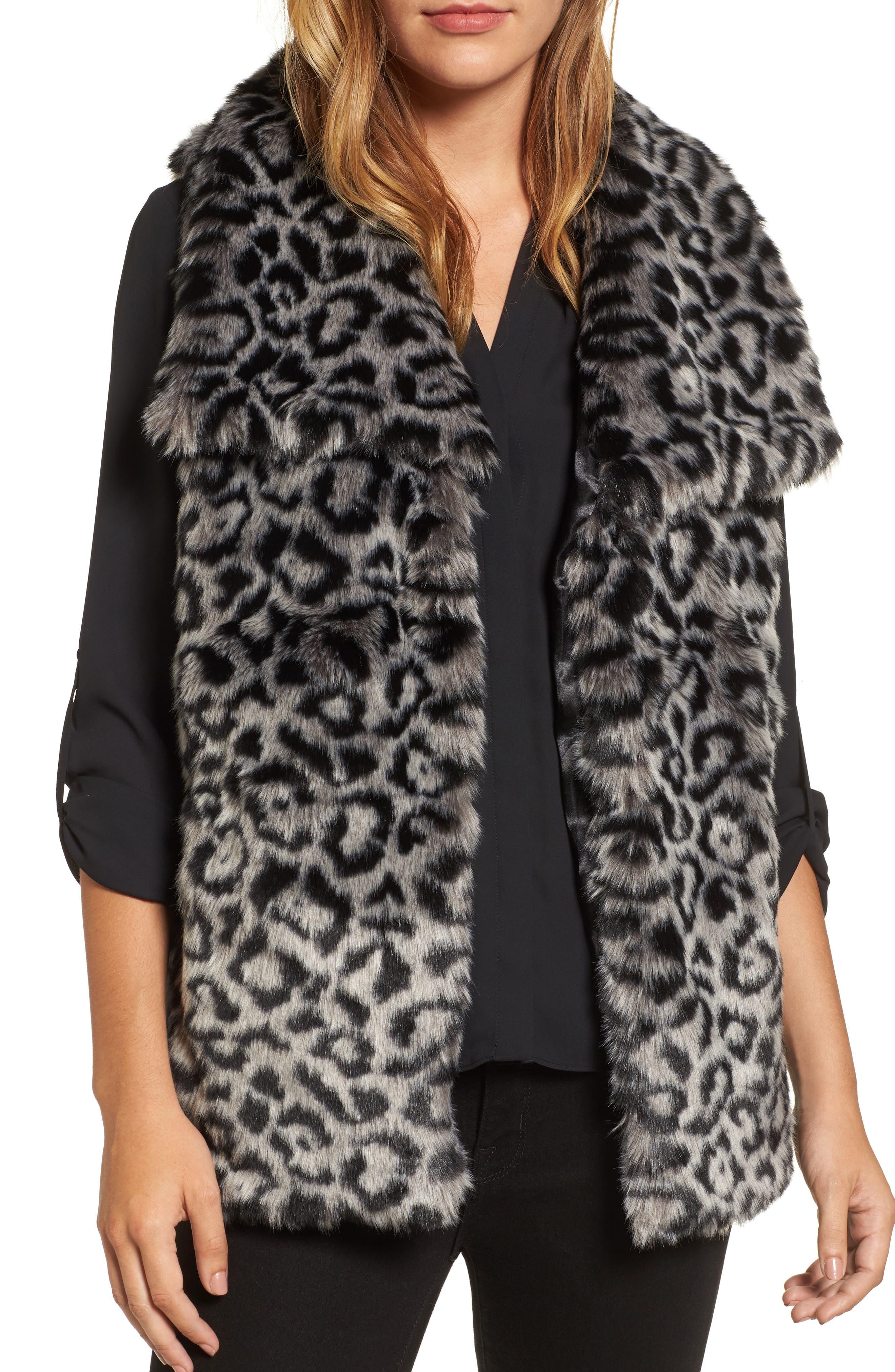 Faux Fur Vest,                         Main,                         color, Snow Leopard