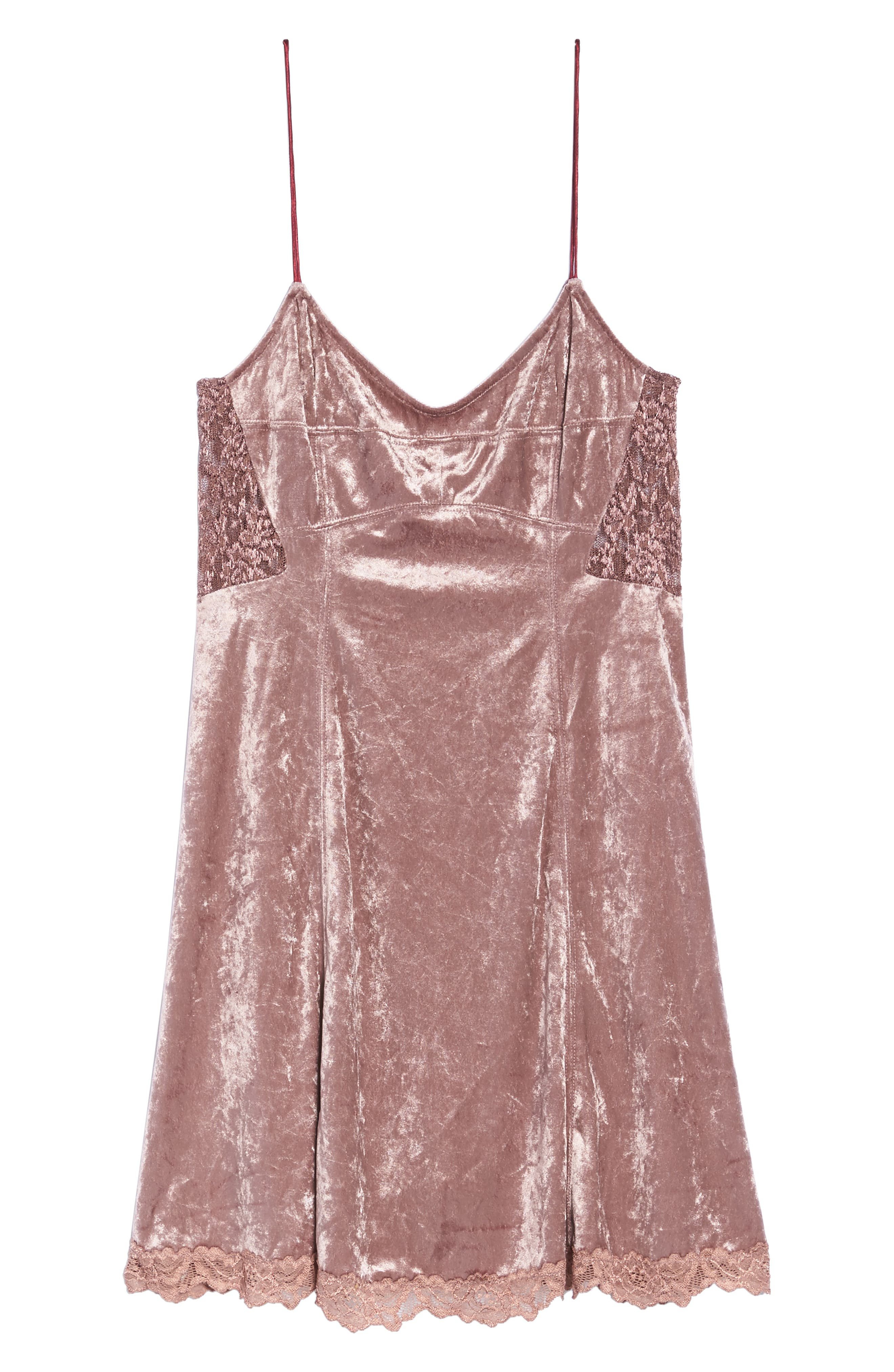 Intimately FP Velvet Chemise,                             Alternate thumbnail 4, color,                             Mauve