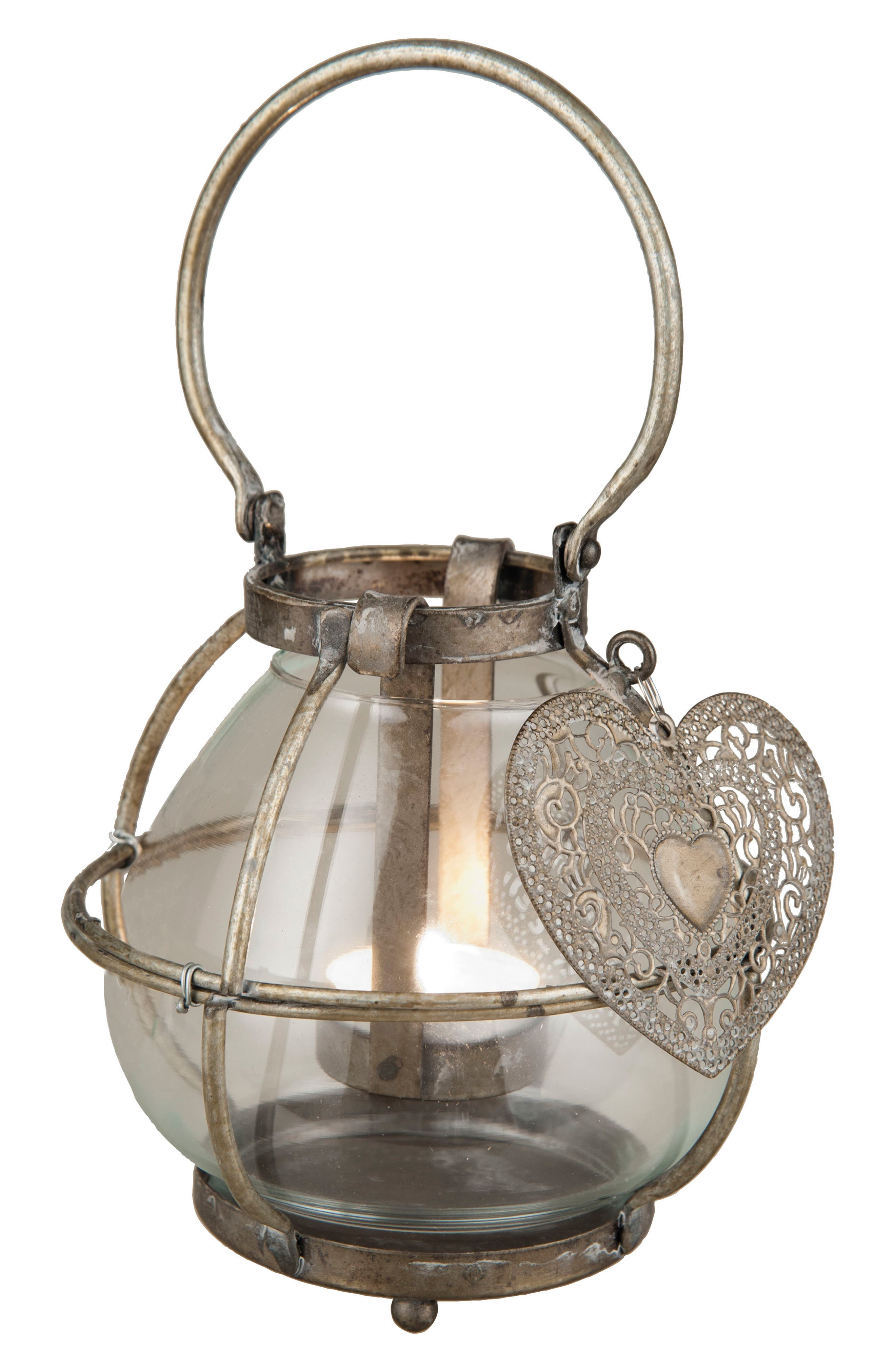 With Love Lantern Candle Holder,                             Main thumbnail 1, color,                             Metal/ Glass