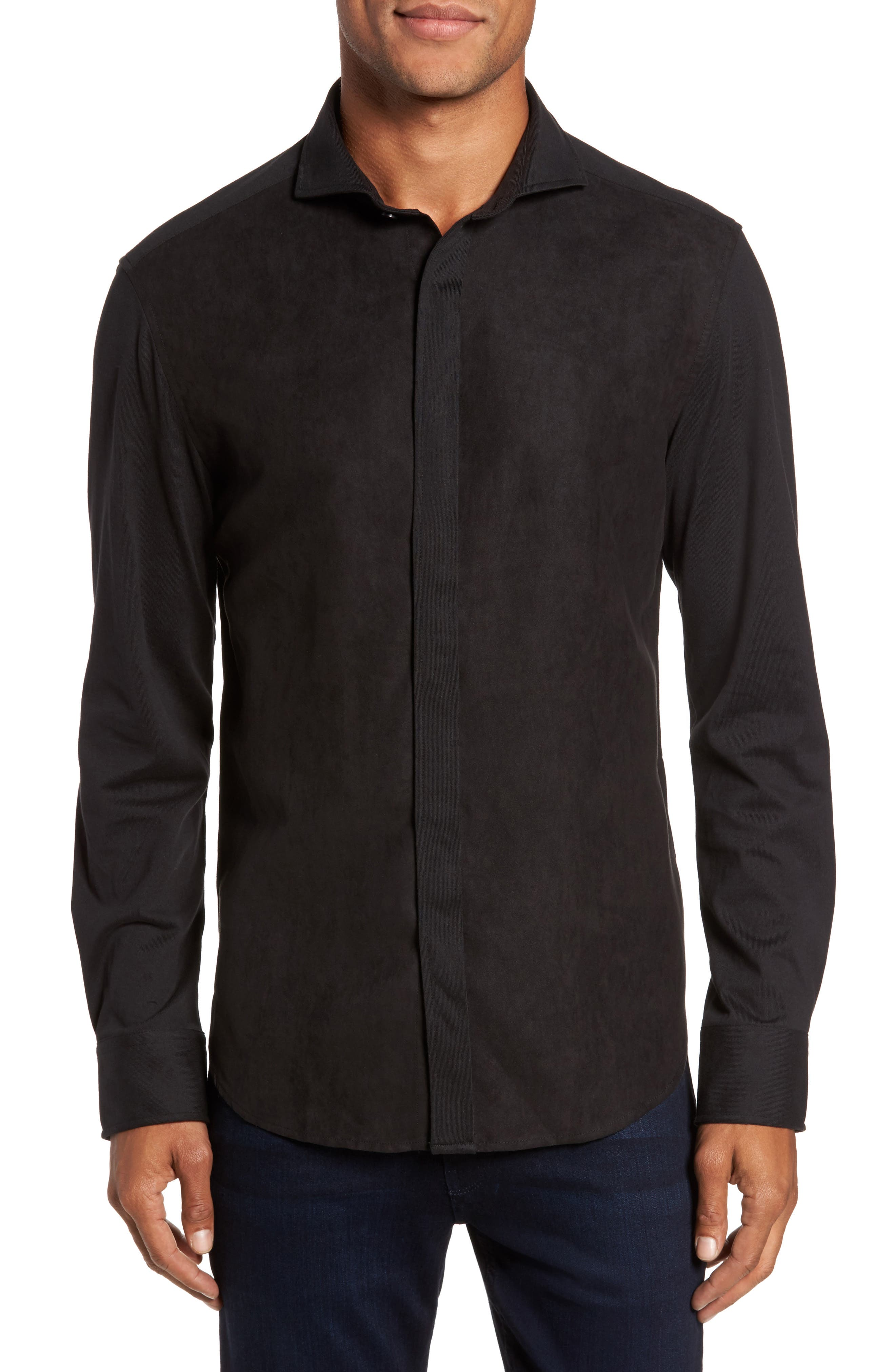 Vince Camuto Mixed Media Sport Shirt