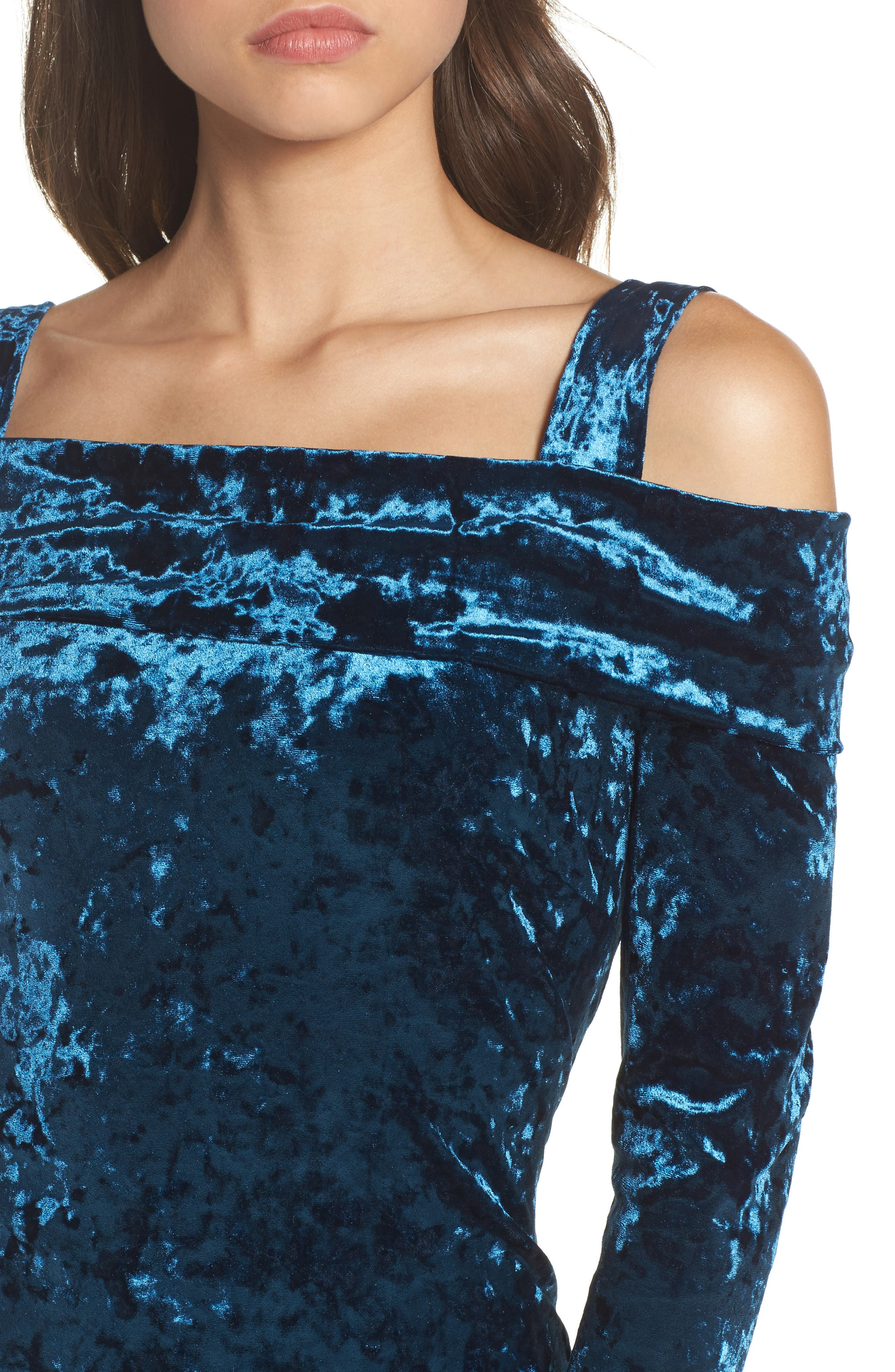 Alternate Image 4  - Maggy London Crushed Velvet Off the Shoulder Dress