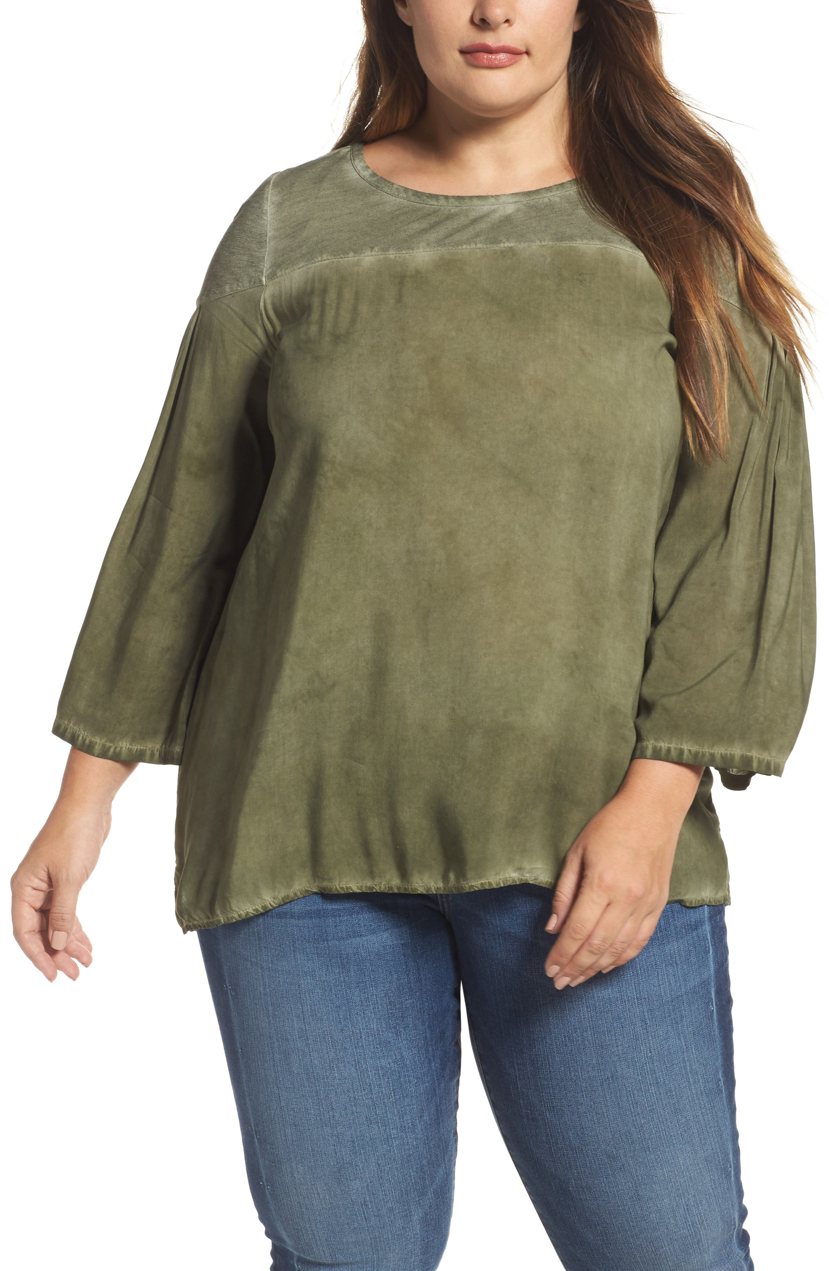 Slubbed Garment Dyed Top,                         Main,                         color, Military Green