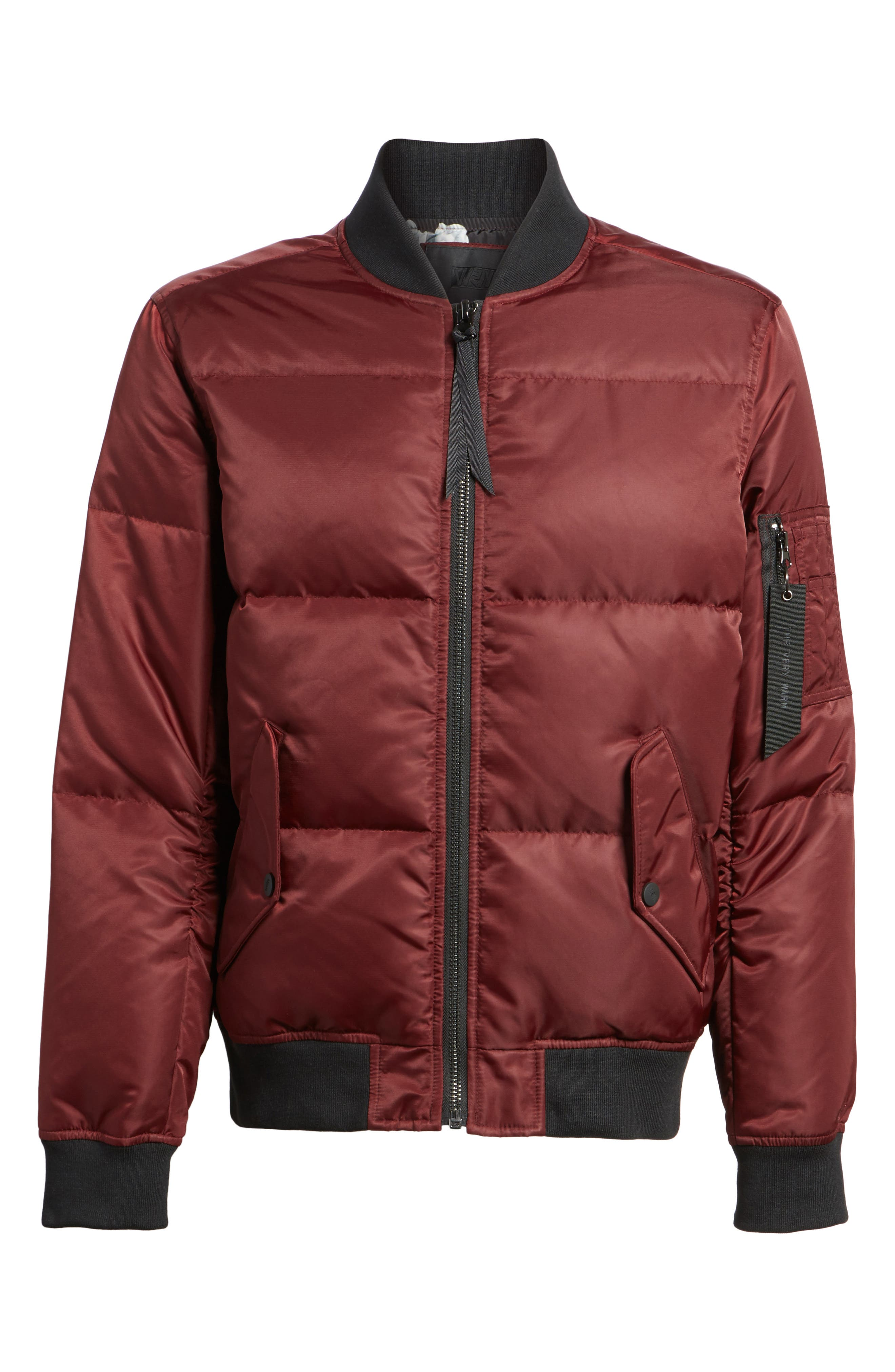 Quilted Down Bomber Jacket,                             Alternate thumbnail 6, color,                             Burgundy