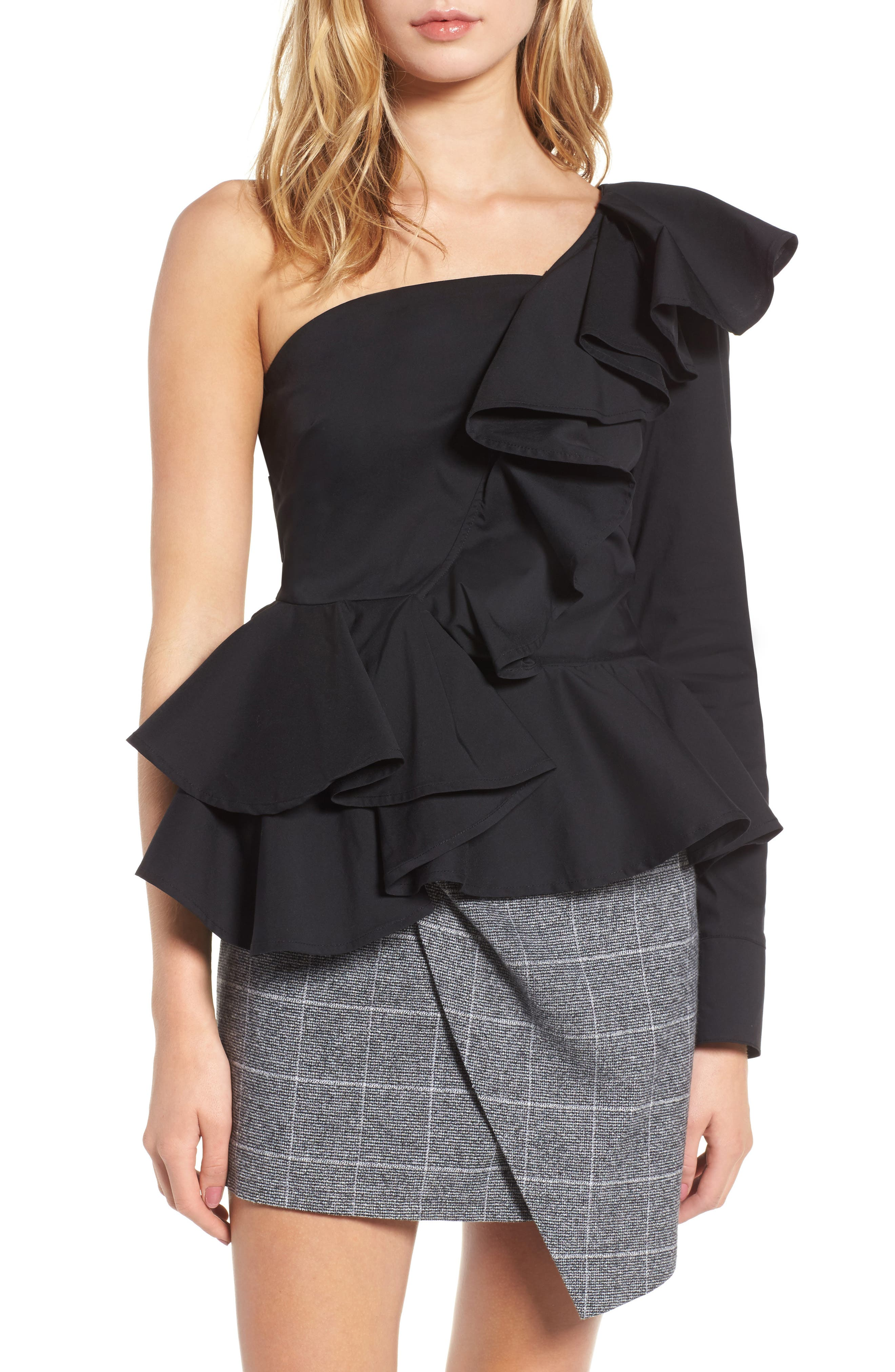 Ruffle One-Shoulder Blouse,                         Main,                         color, Black