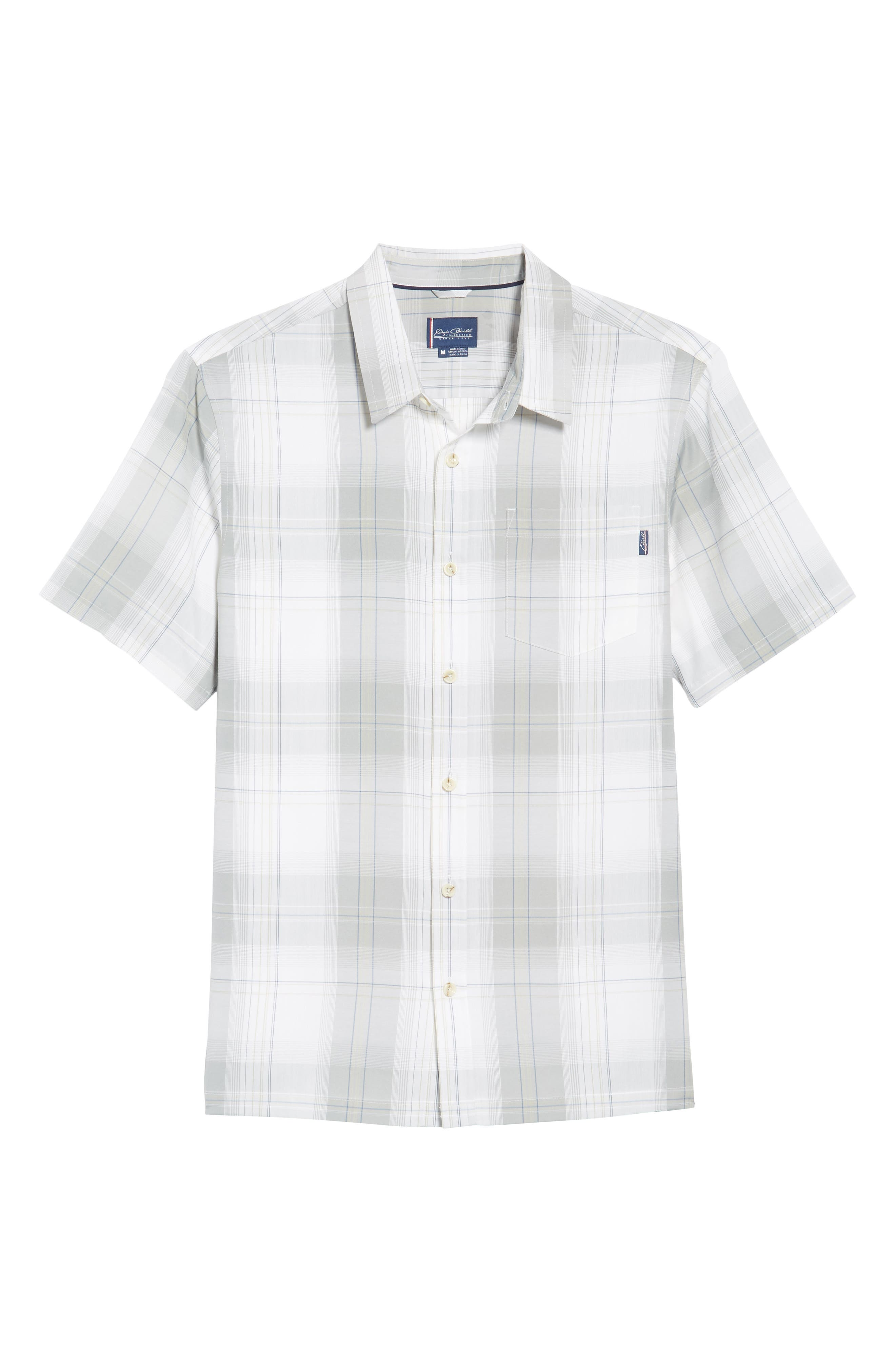 Outerbanks Plaid Sport Shirt,                             Alternate thumbnail 6, color,                             Light Grey