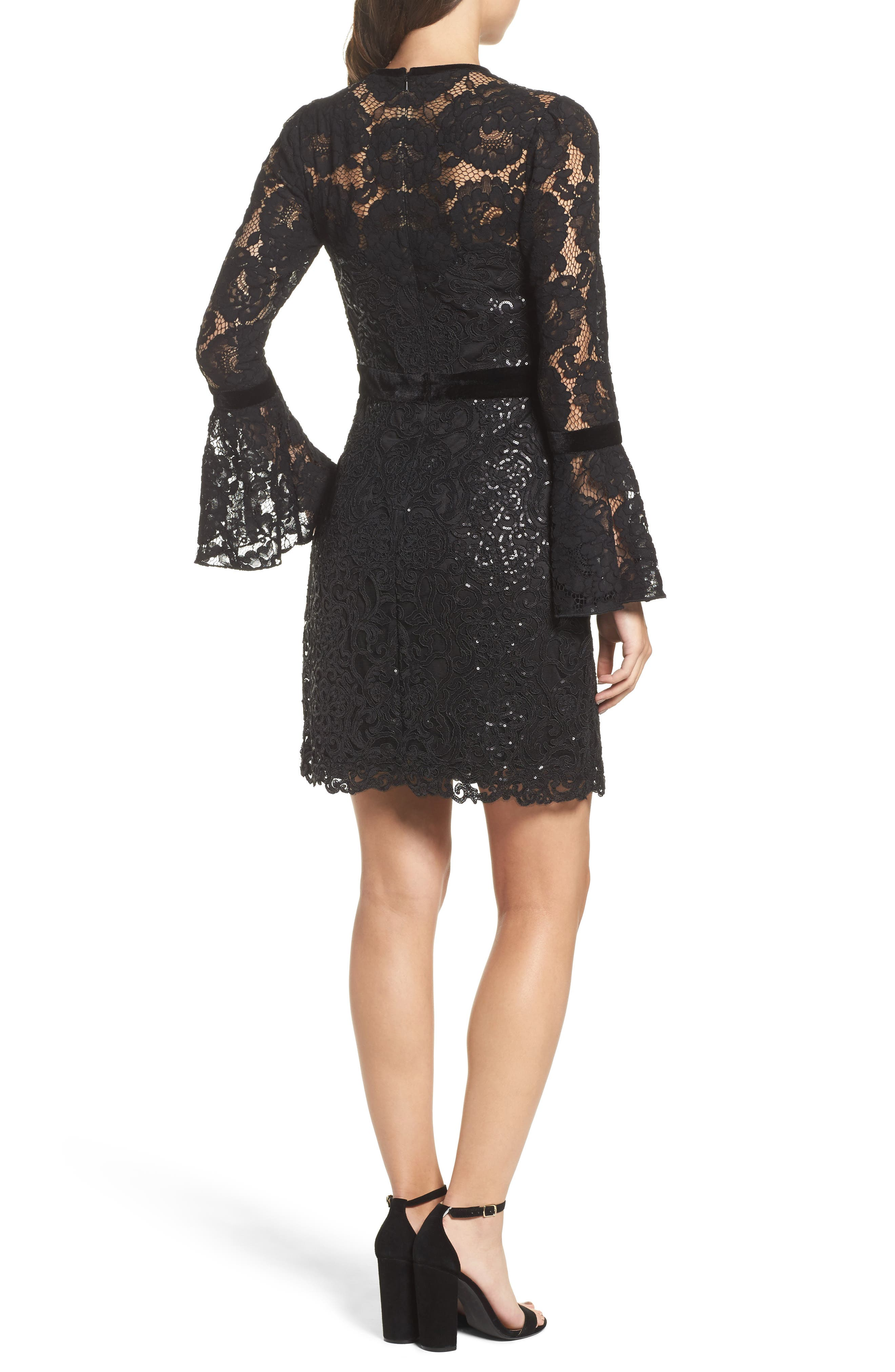 Alternate Image 2  - Tadashi Shoji Bell Sleeve Rose & Sequin Lace Dress