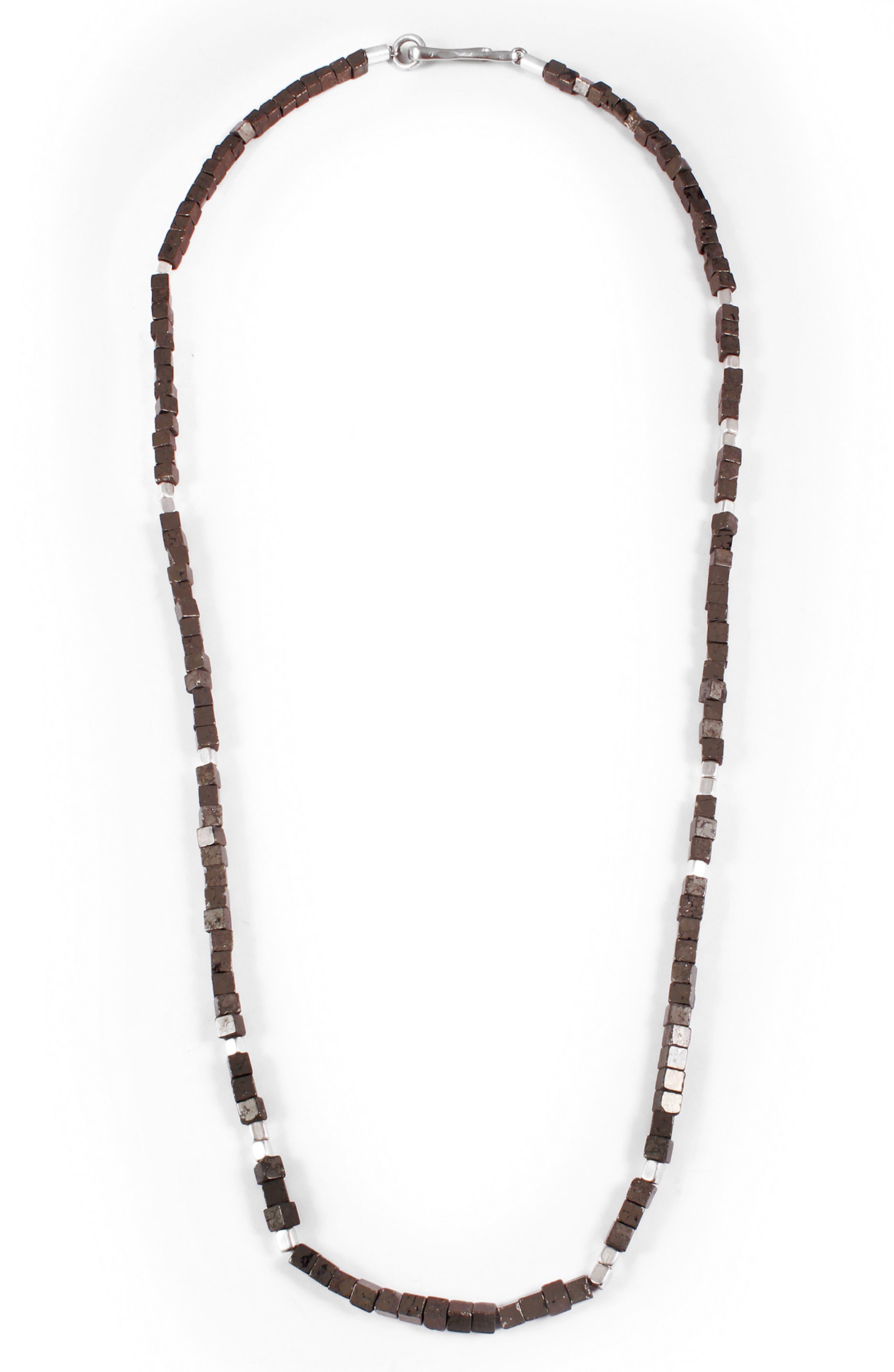 Eternal Morse Beaded Necklace,                         Main,                         color, Pyrite/ Silver