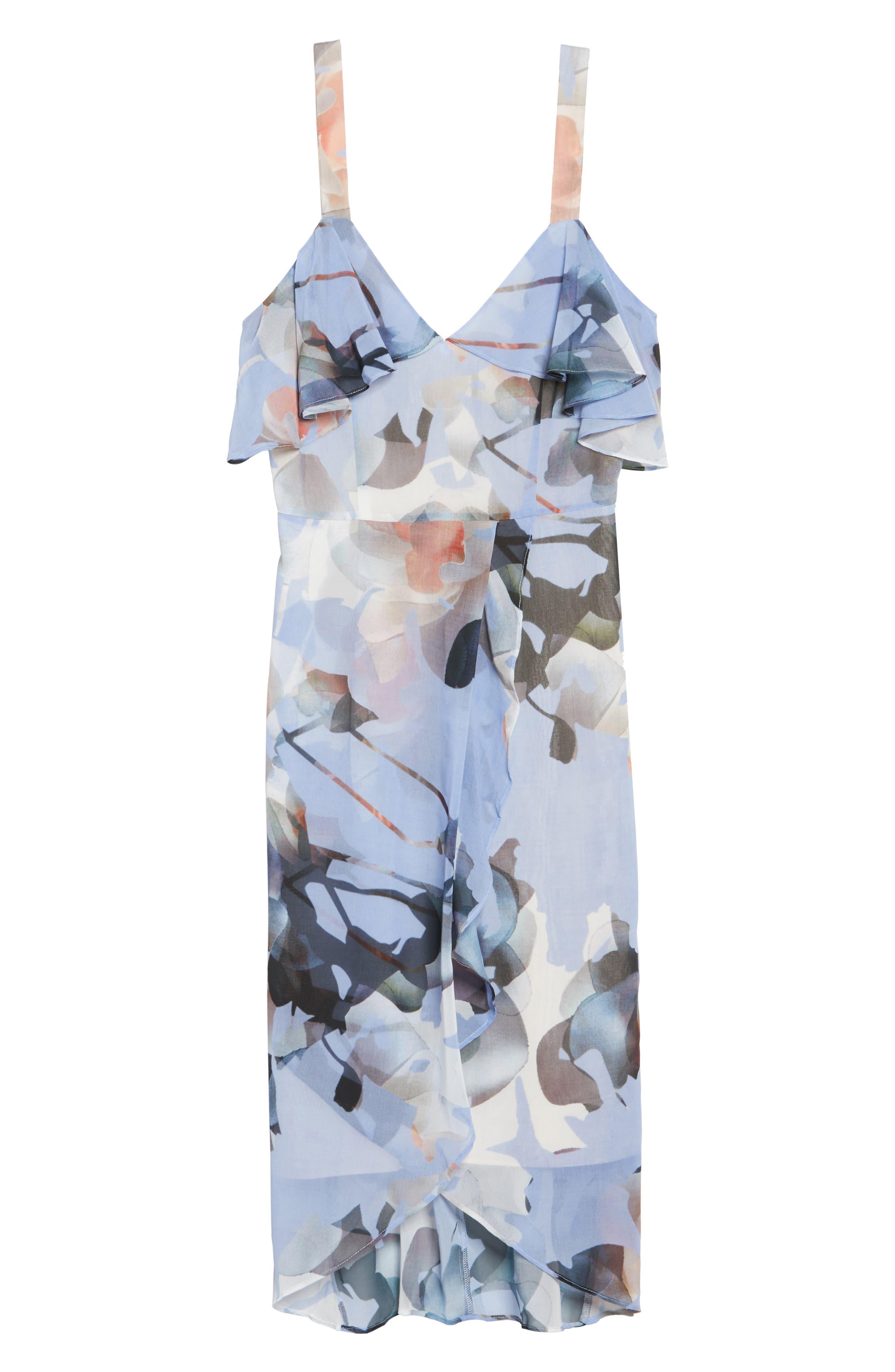 Elle Midi Dress,                             Alternate thumbnail 6, color,                             Print