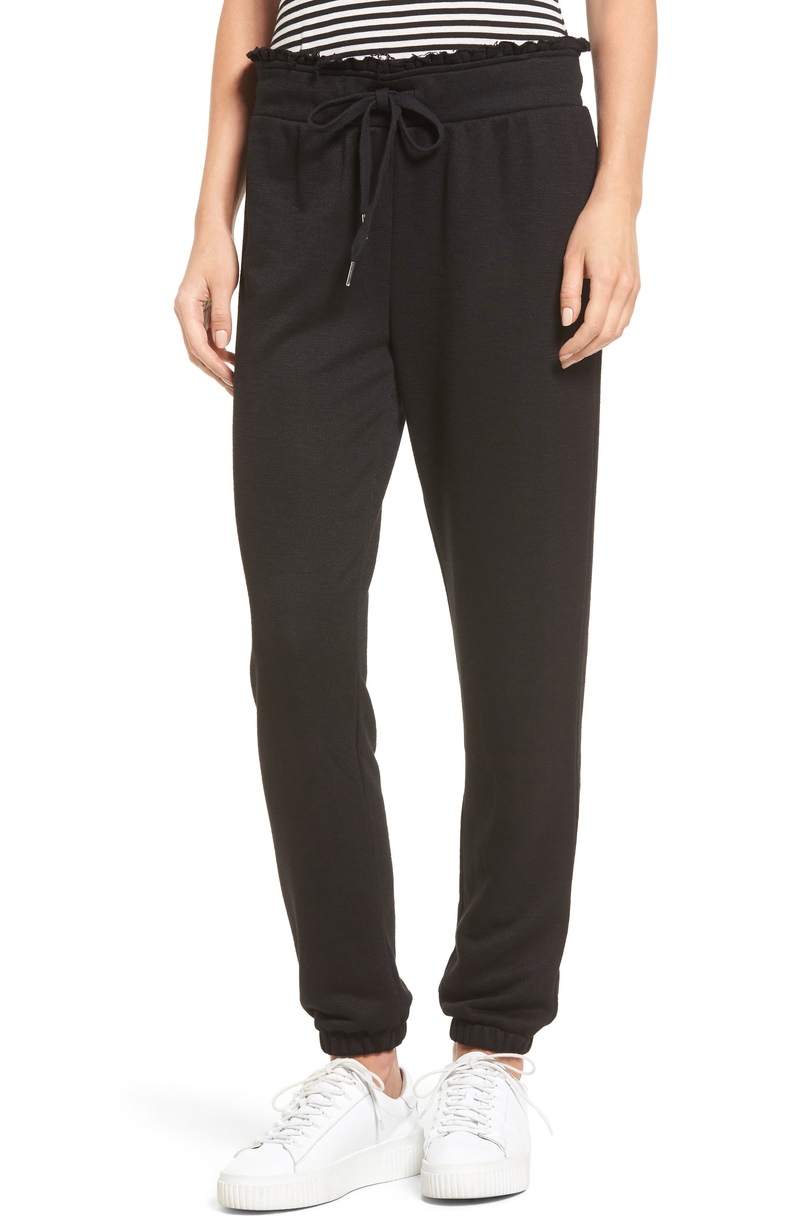 Raw Edge Sweatpants,                         Main,                         color, Black