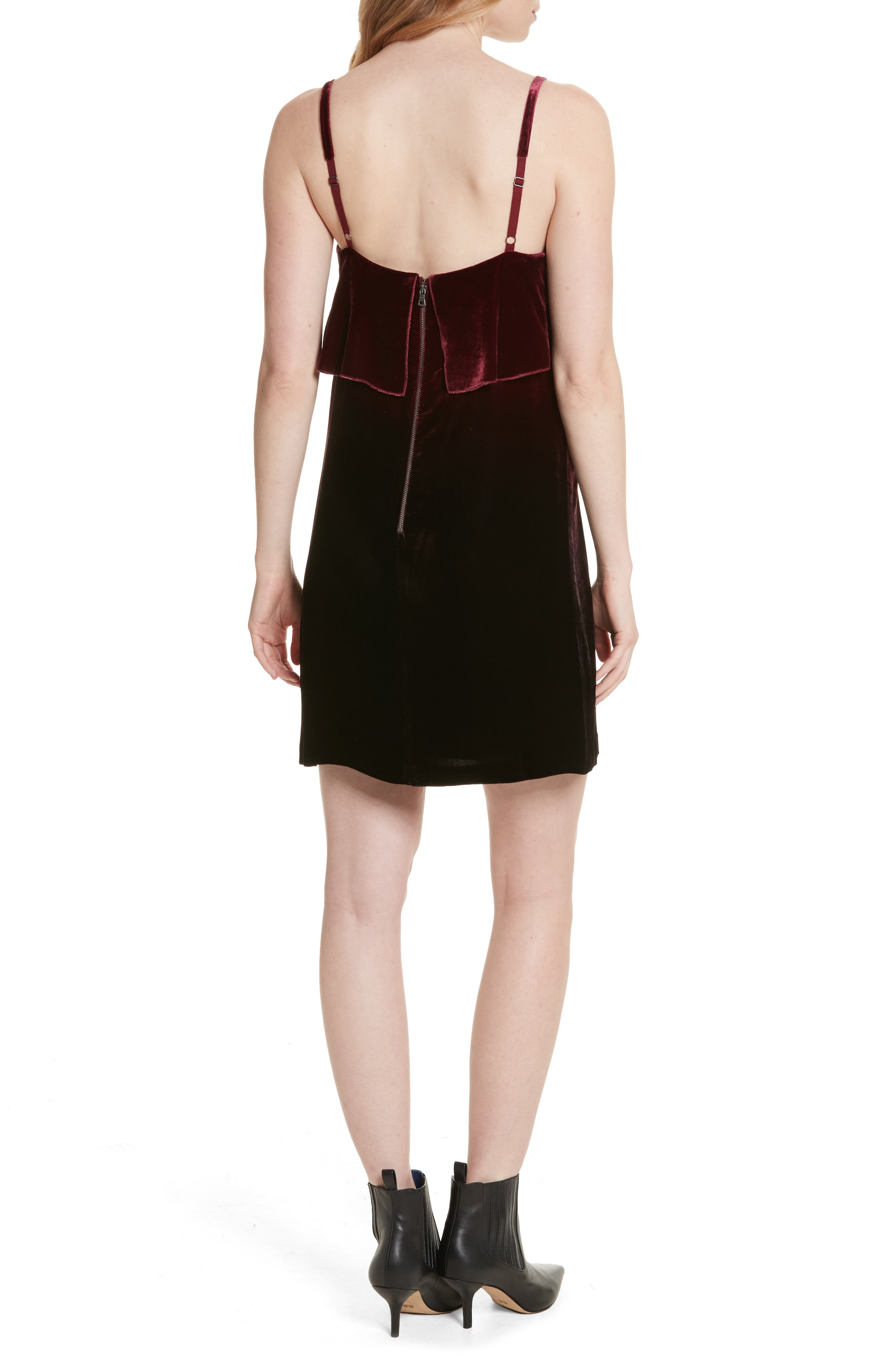 Ruffle Bodice Velvet Dress,                             Alternate thumbnail 2, color,                             Wine