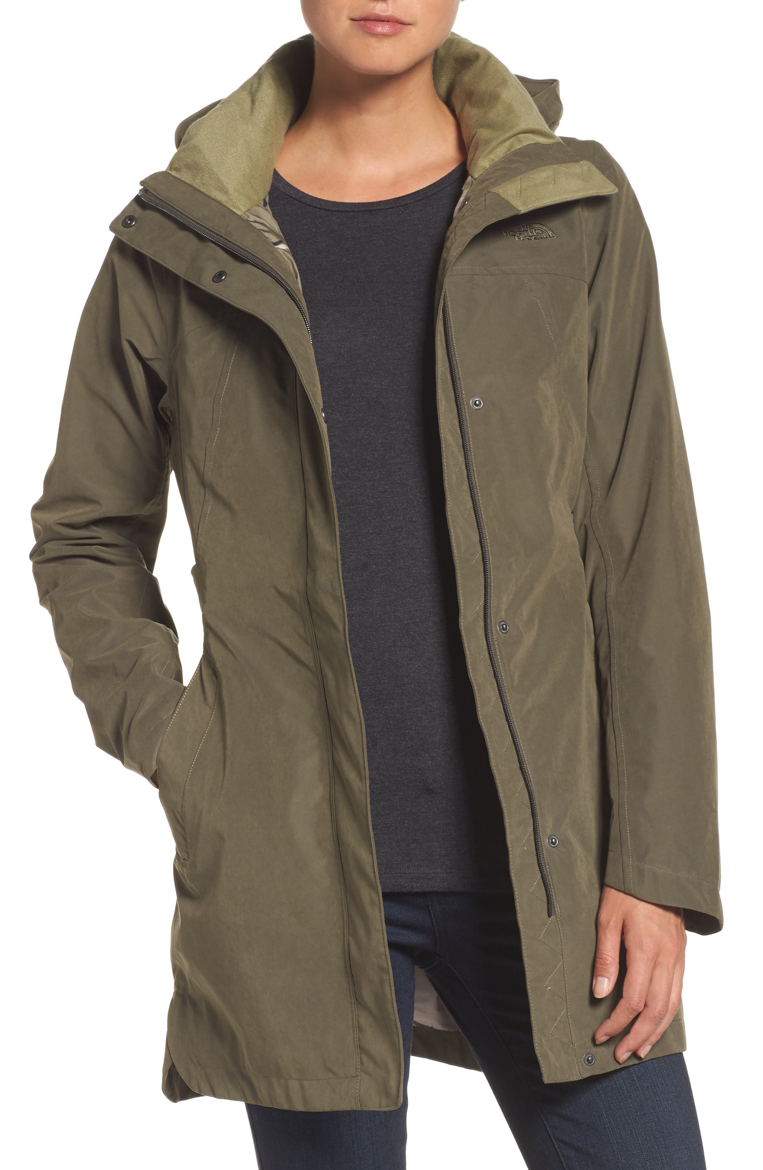 Laney II Trench Raincoat,                         Main,                         color, New Taupe Green