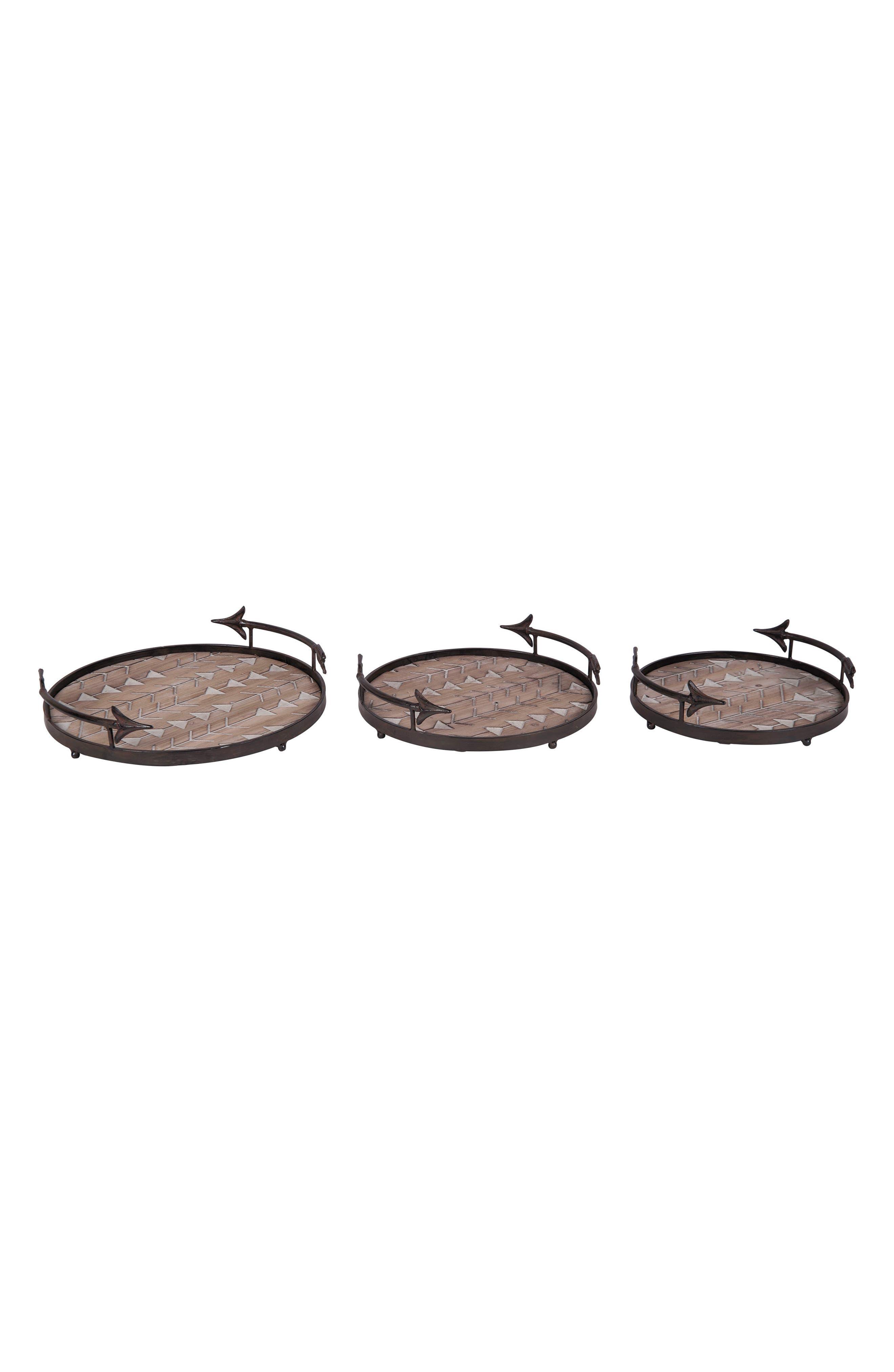 Arrow Set of 3 Nesting Trays,                         Main,                         color, Metal/ Wood