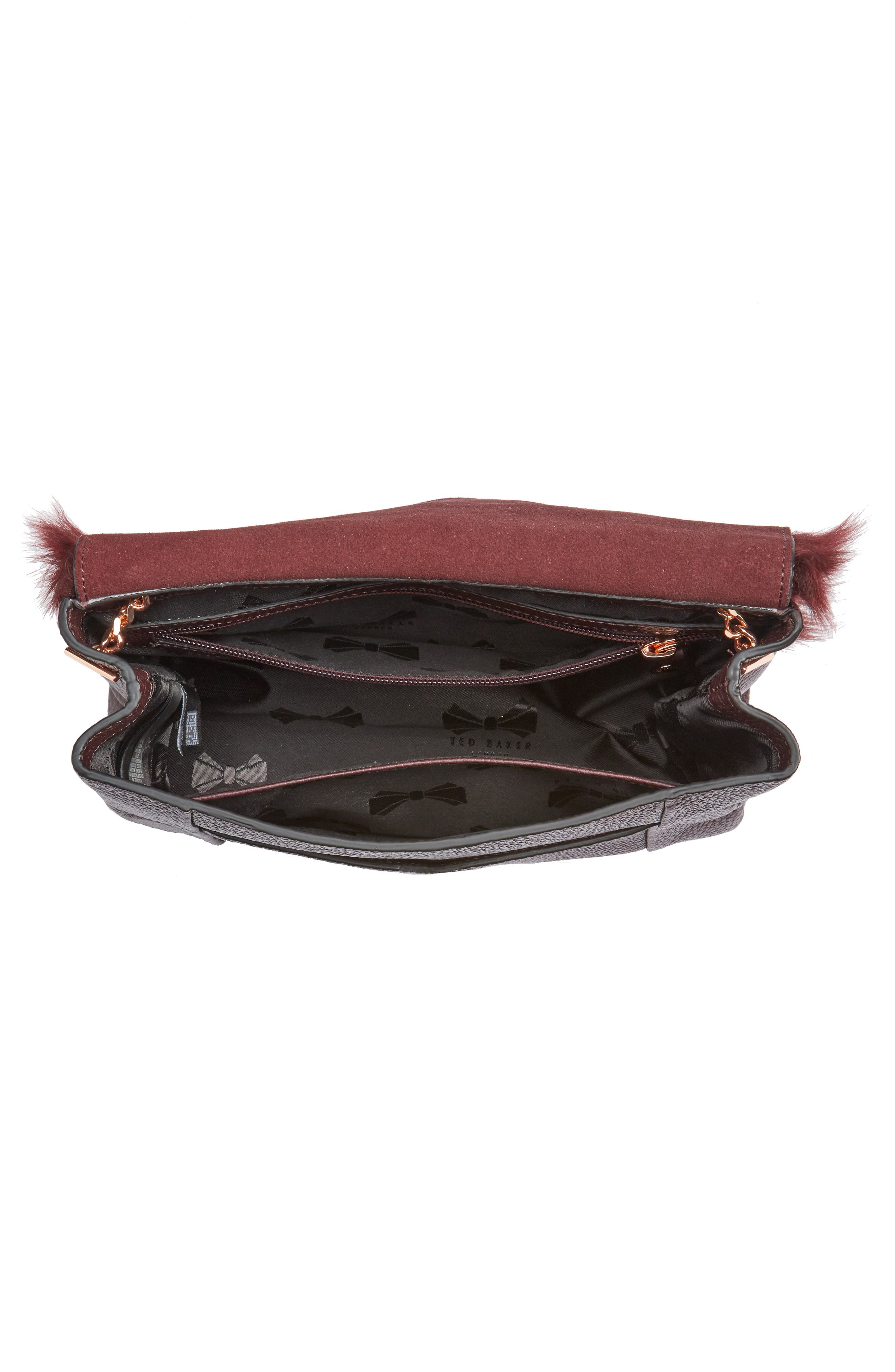 Fuzzi Genuine Shearling & Leather Convertible Crossbody Bag,                             Alternate thumbnail 3, color,                             Maroon