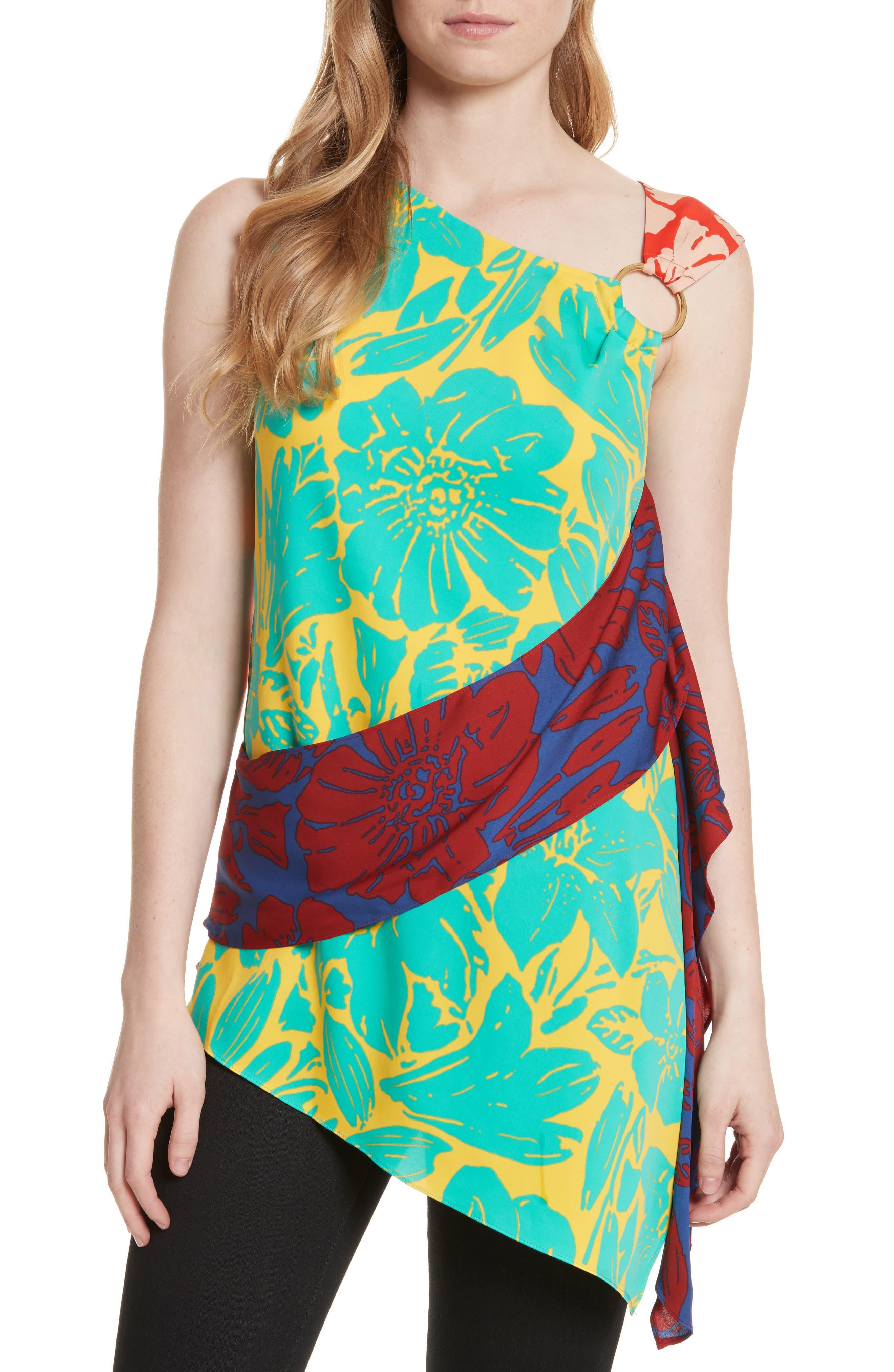 Asymmetrical Mixed Print Top,                         Main,                         color, Leclaire Multi