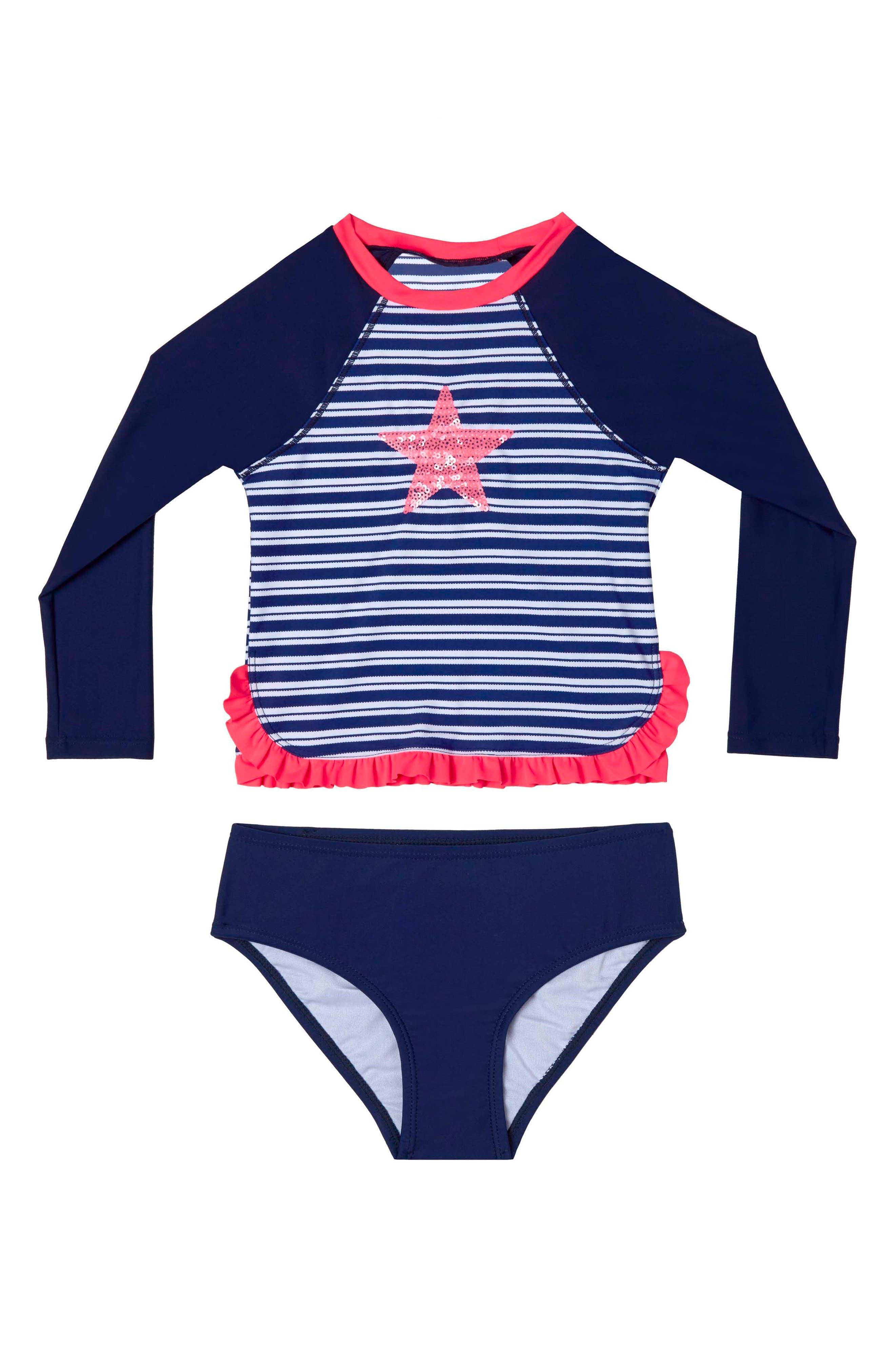 Retro Stripe Two-Piece Rashguard Swimsuit,                         Main,                         color, Navy
