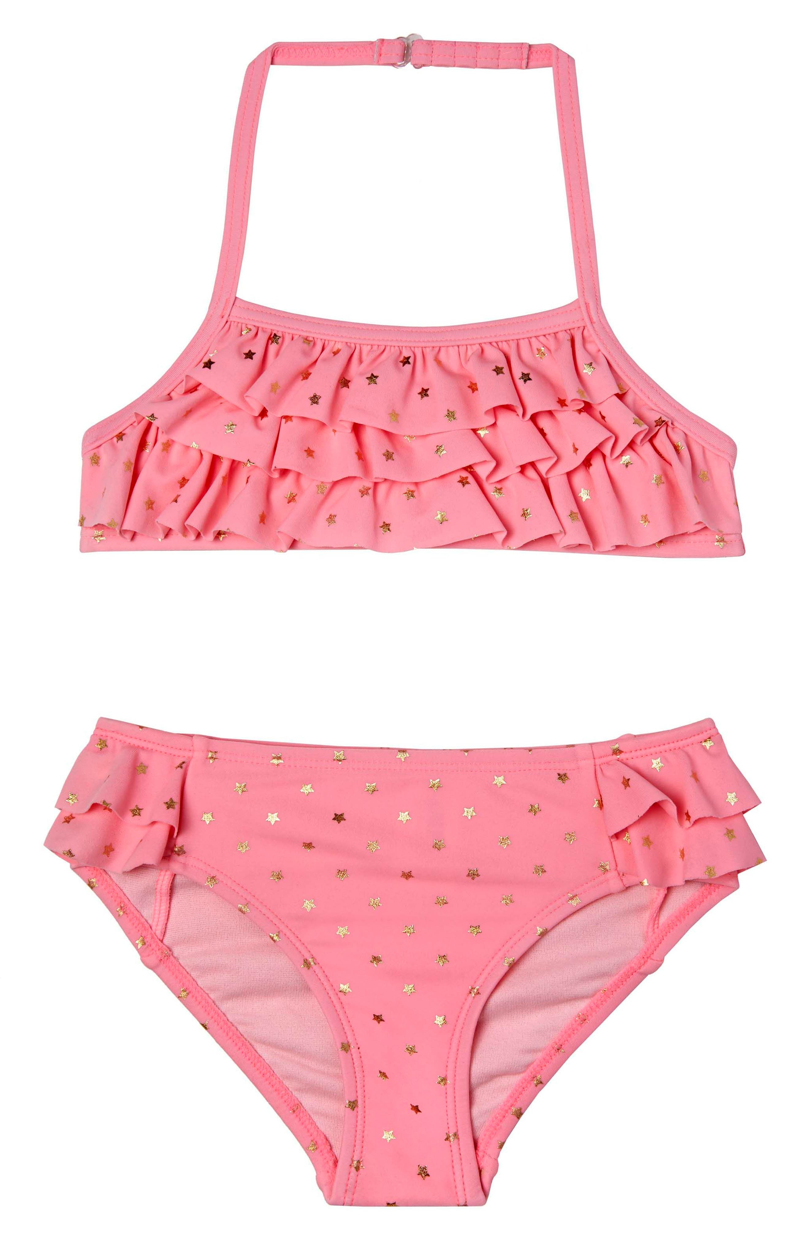 Twinkle Star Two-Piece Swimsuit,                             Main thumbnail 1, color,                             Pink