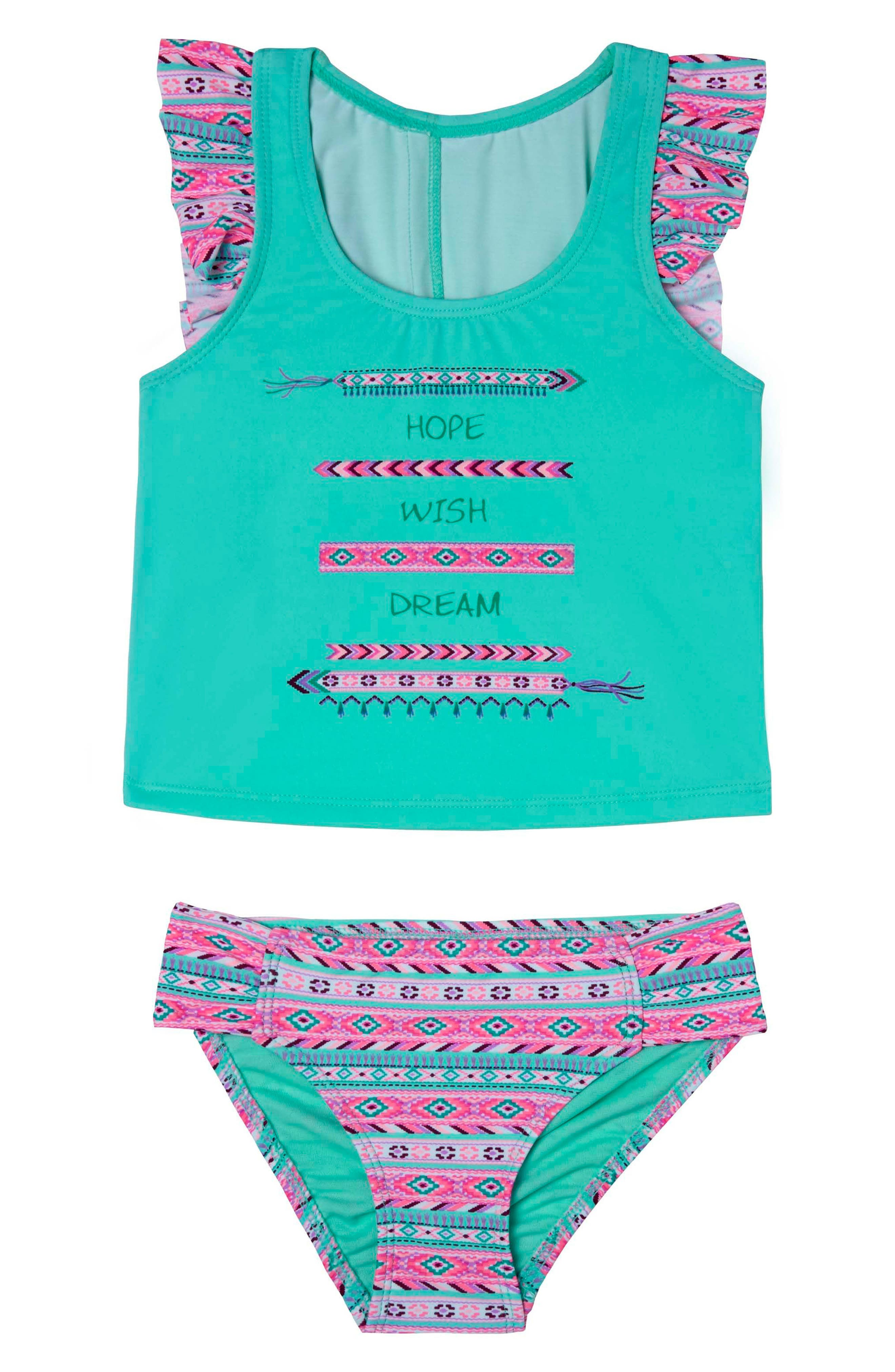 BFF - Hope, Wish & Dream Two-Piece Tankini Swimsuit,                             Main thumbnail 1, color,                             Green