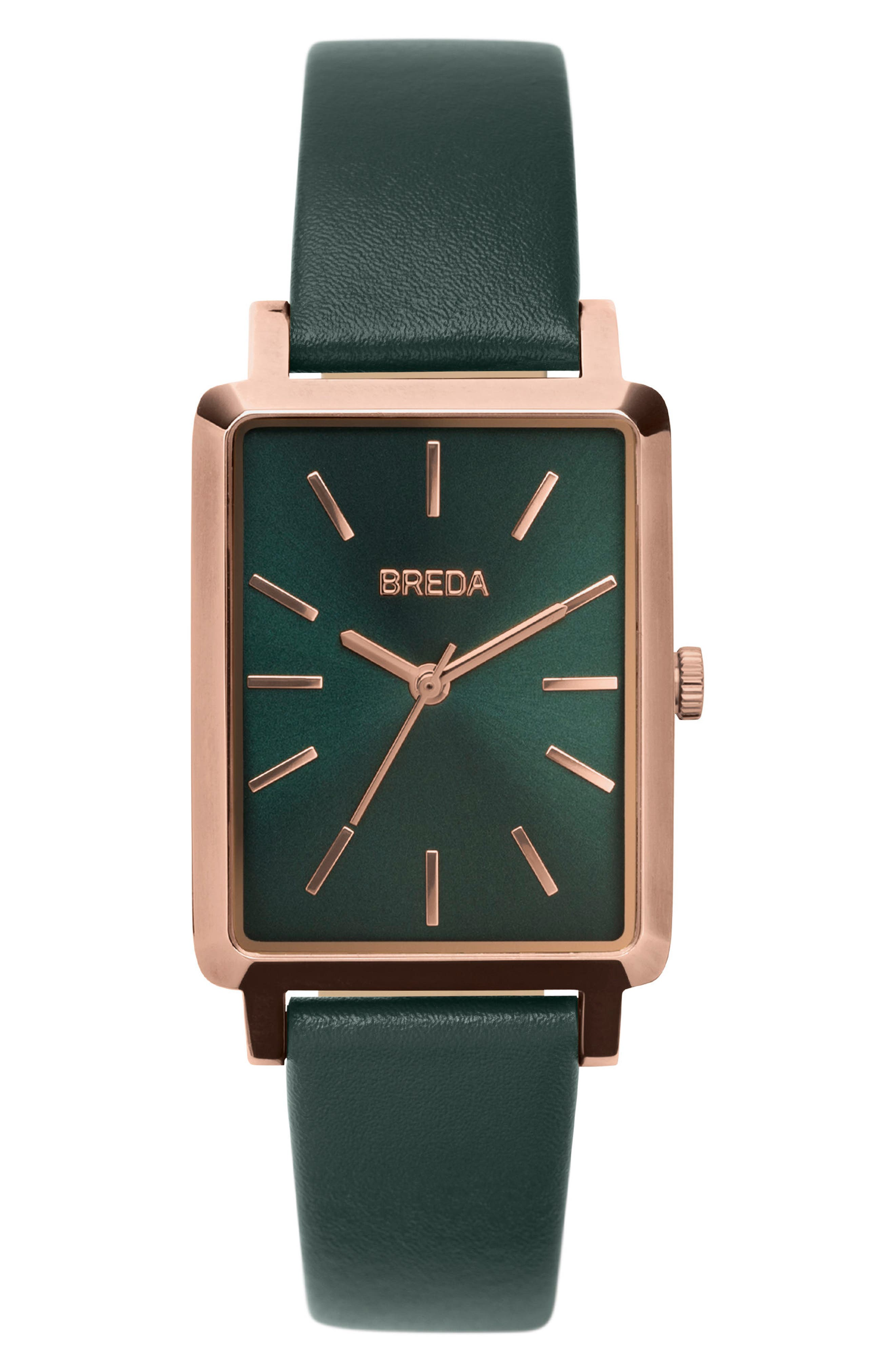 Baer Rectangular Leather Strap Watch, 26mm,                             Main thumbnail 1, color,                             Green/ Rose Gold