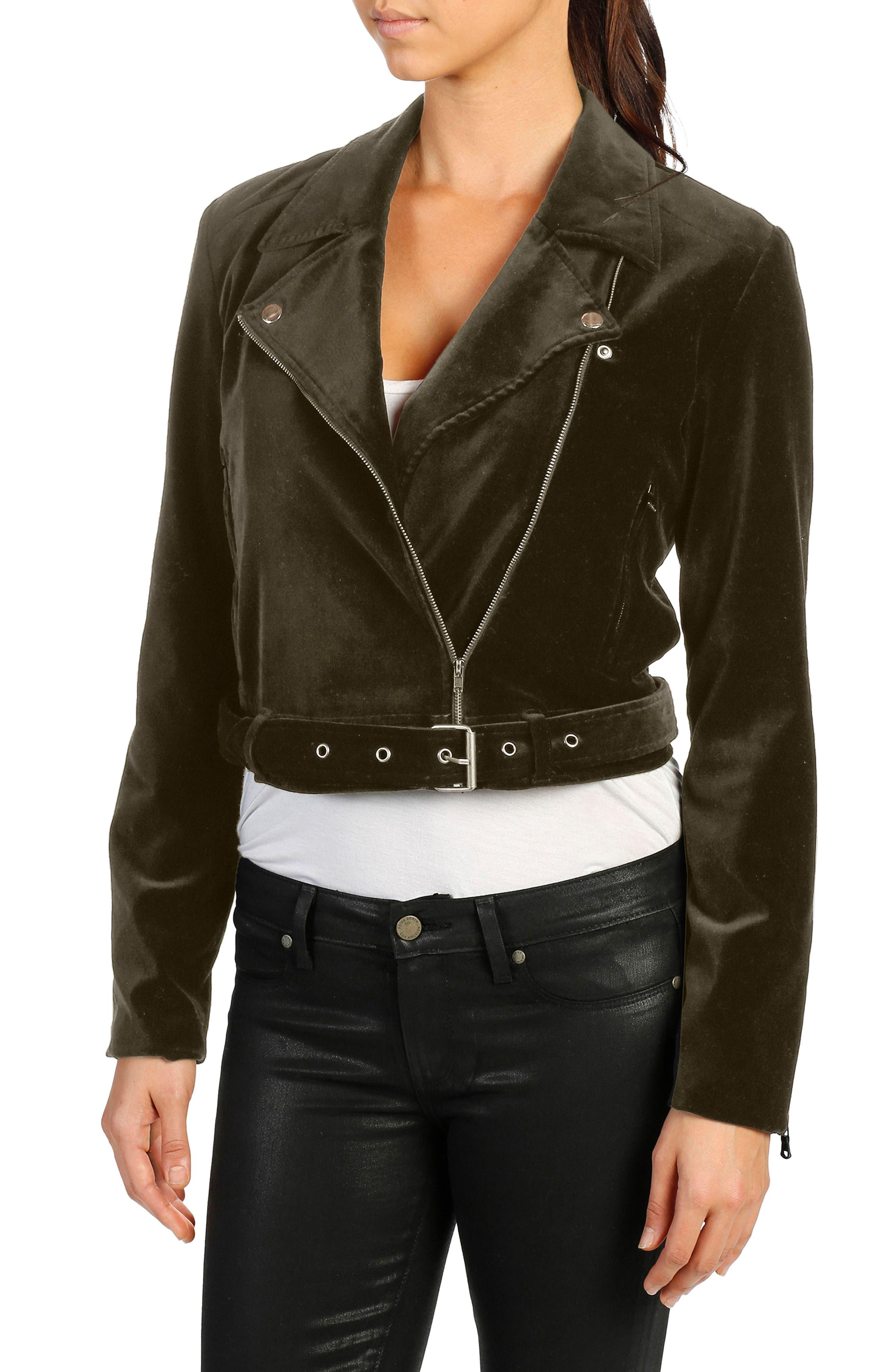 Shanna Moto Velvet Jacket,                             Main thumbnail 1, color,                             Deep Juniper