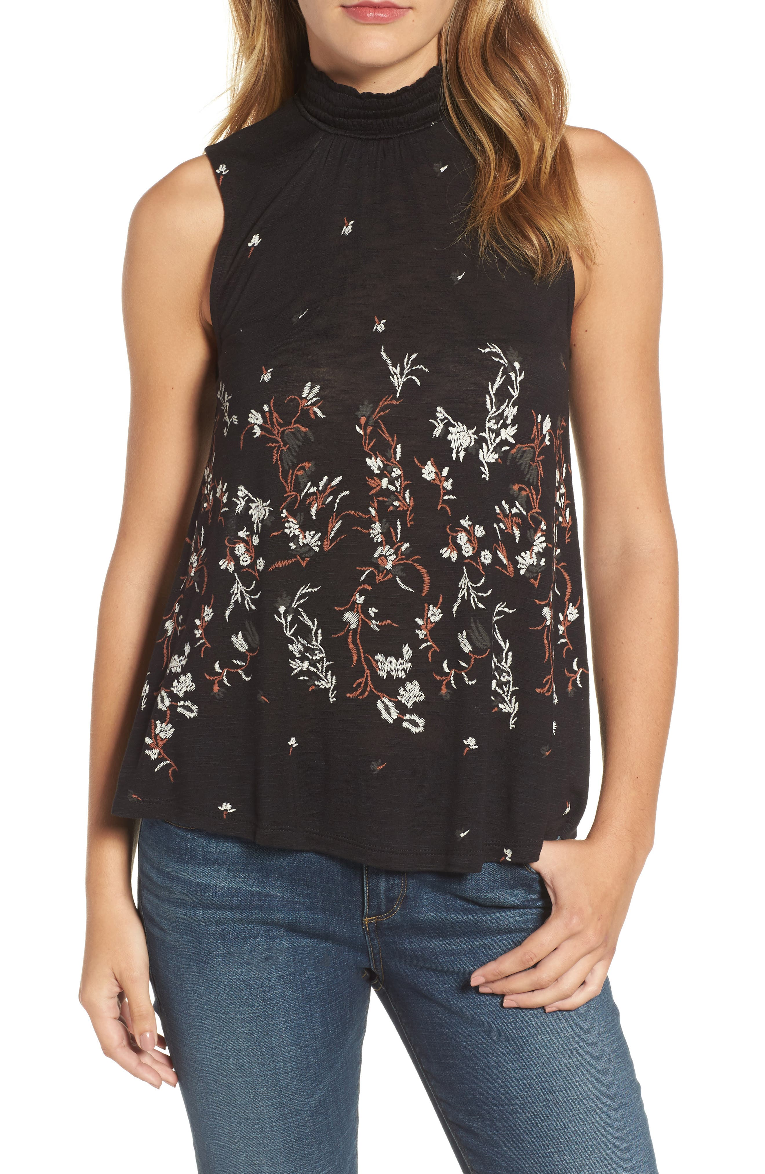 Mock Neck Floral Top,                             Main thumbnail 1, color,                             Black Multi