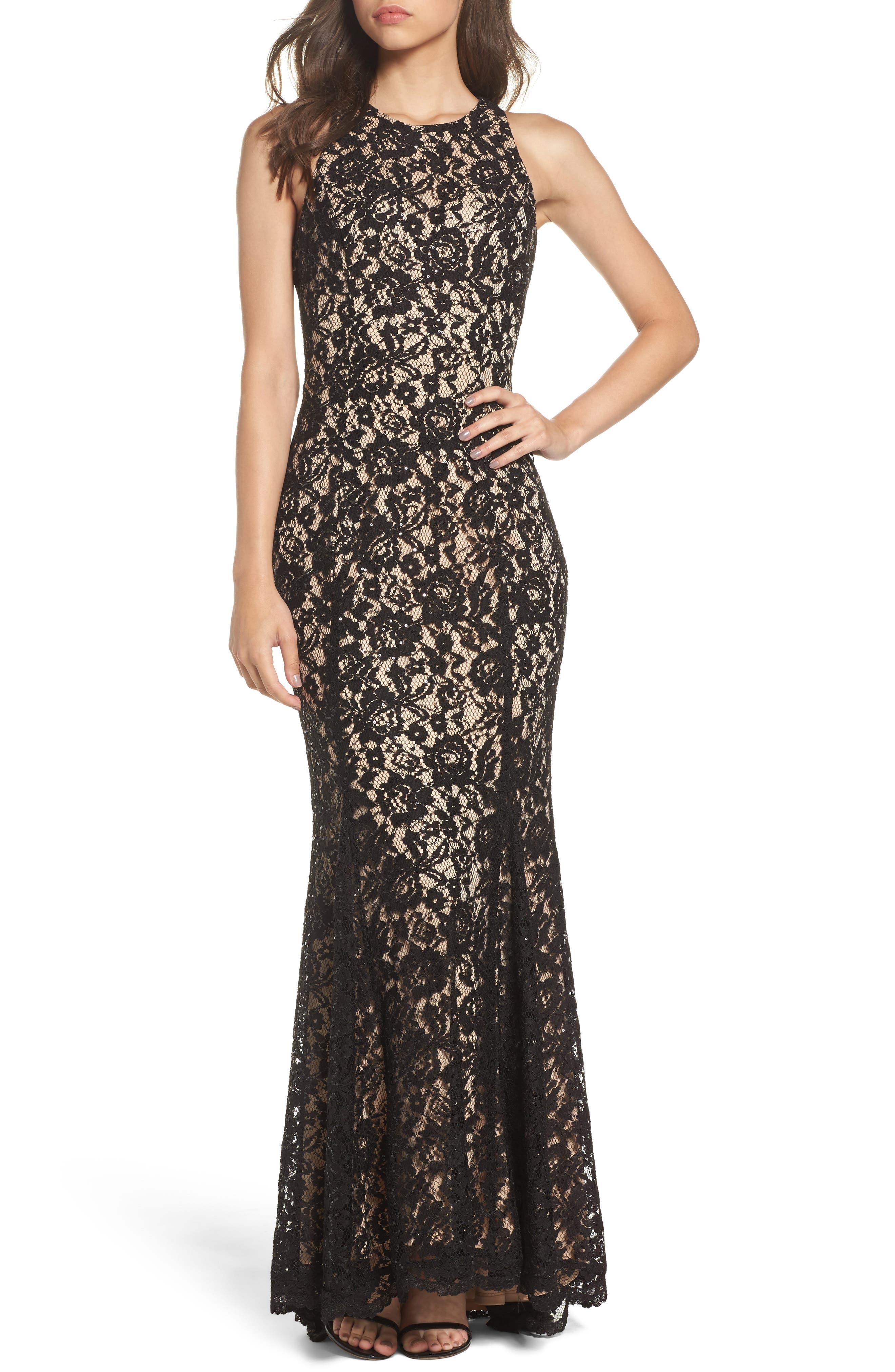 Sequin Lace Body-Con Gown,                         Main,                         color, Black