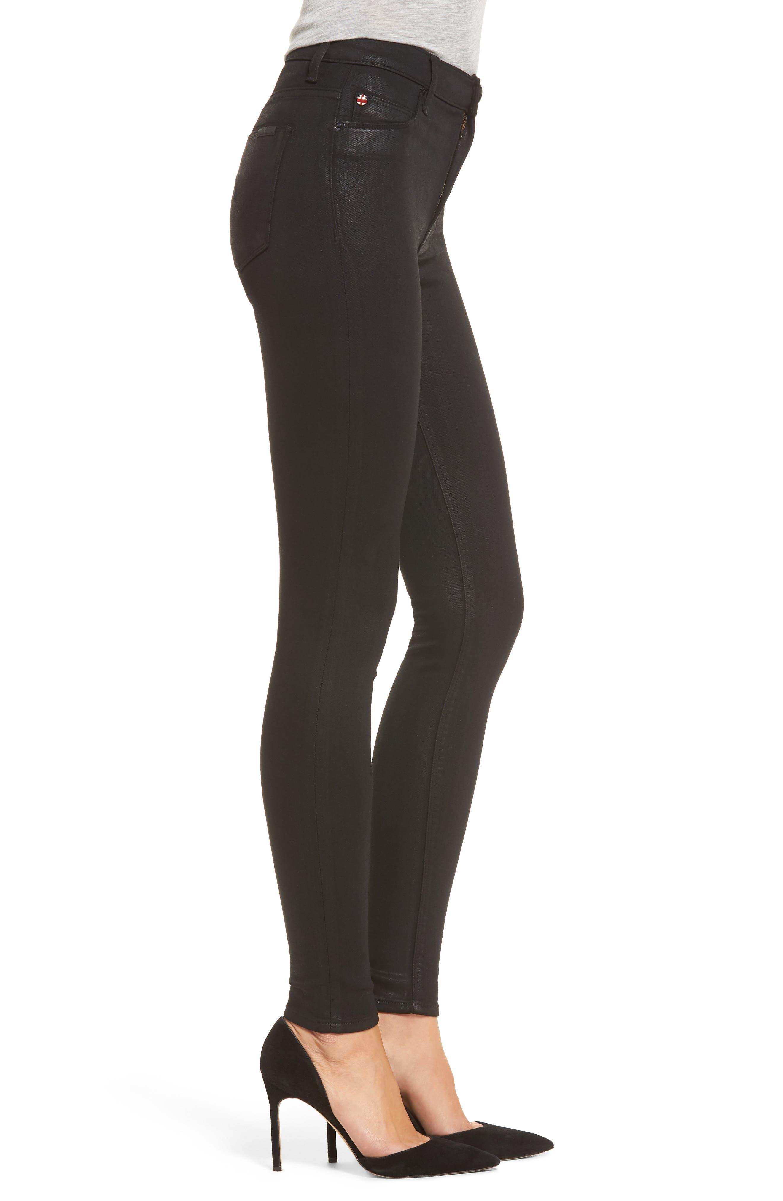 Barbara High Waist Skinny Jeans,                             Alternate thumbnail 3, color,                             Noir Coated