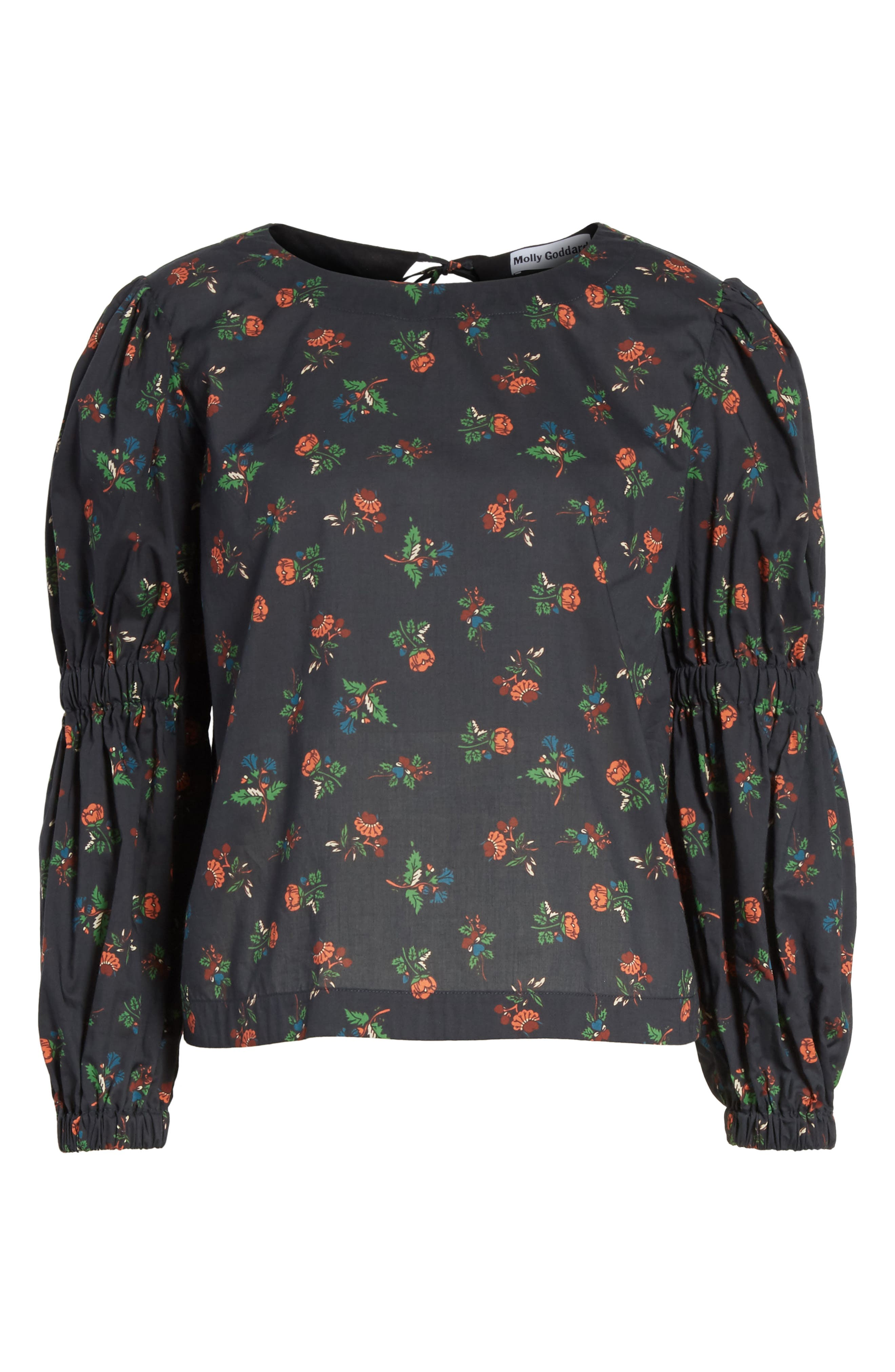 Floral Puff Sleeve Top,                             Alternate thumbnail 7, color,                             Black