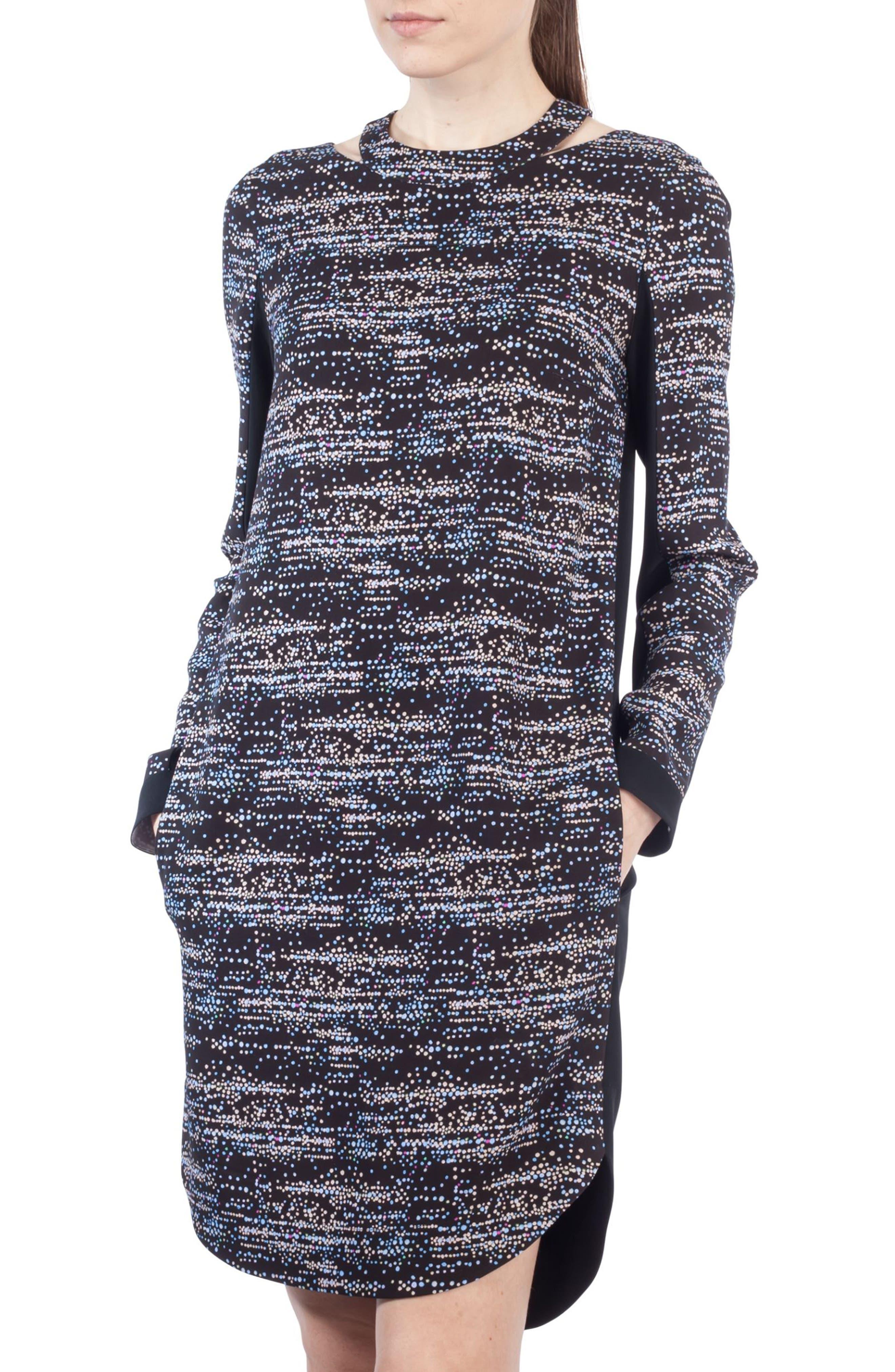 Choker Neck Print Dress,                             Alternate thumbnail 5, color,                             Multicolor
