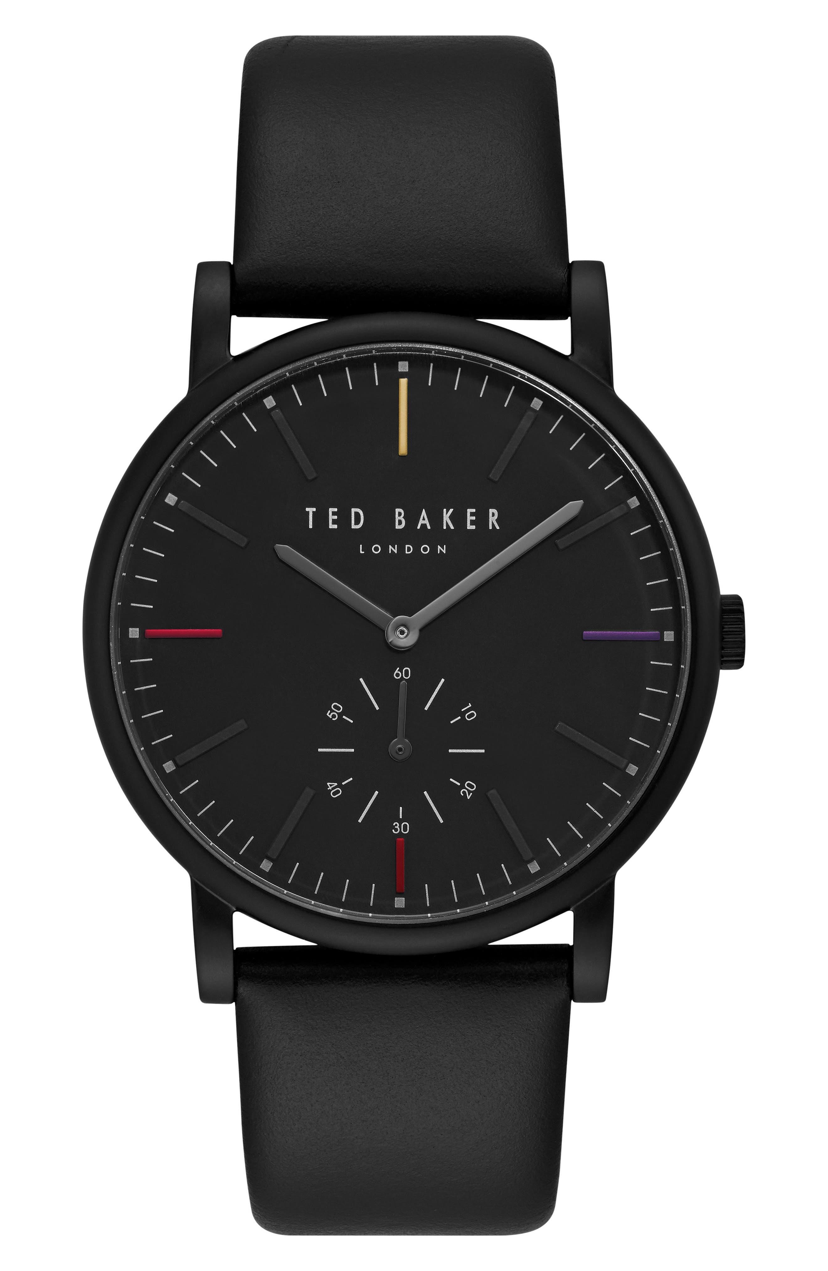 Nolan Subeye Leather Strap Watch, 42mm,                         Main,                         color, Black/ Black