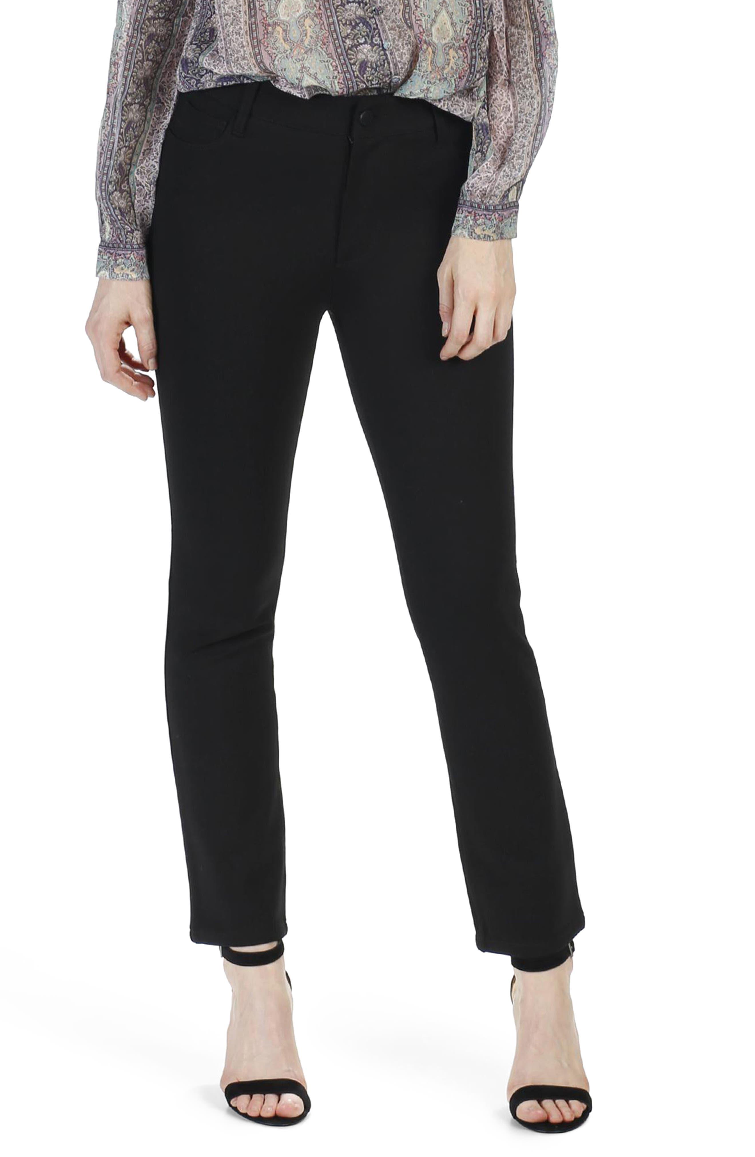 Jacqueline High Waist Crop Straight Leg Pants,                         Main,                         color, Black
