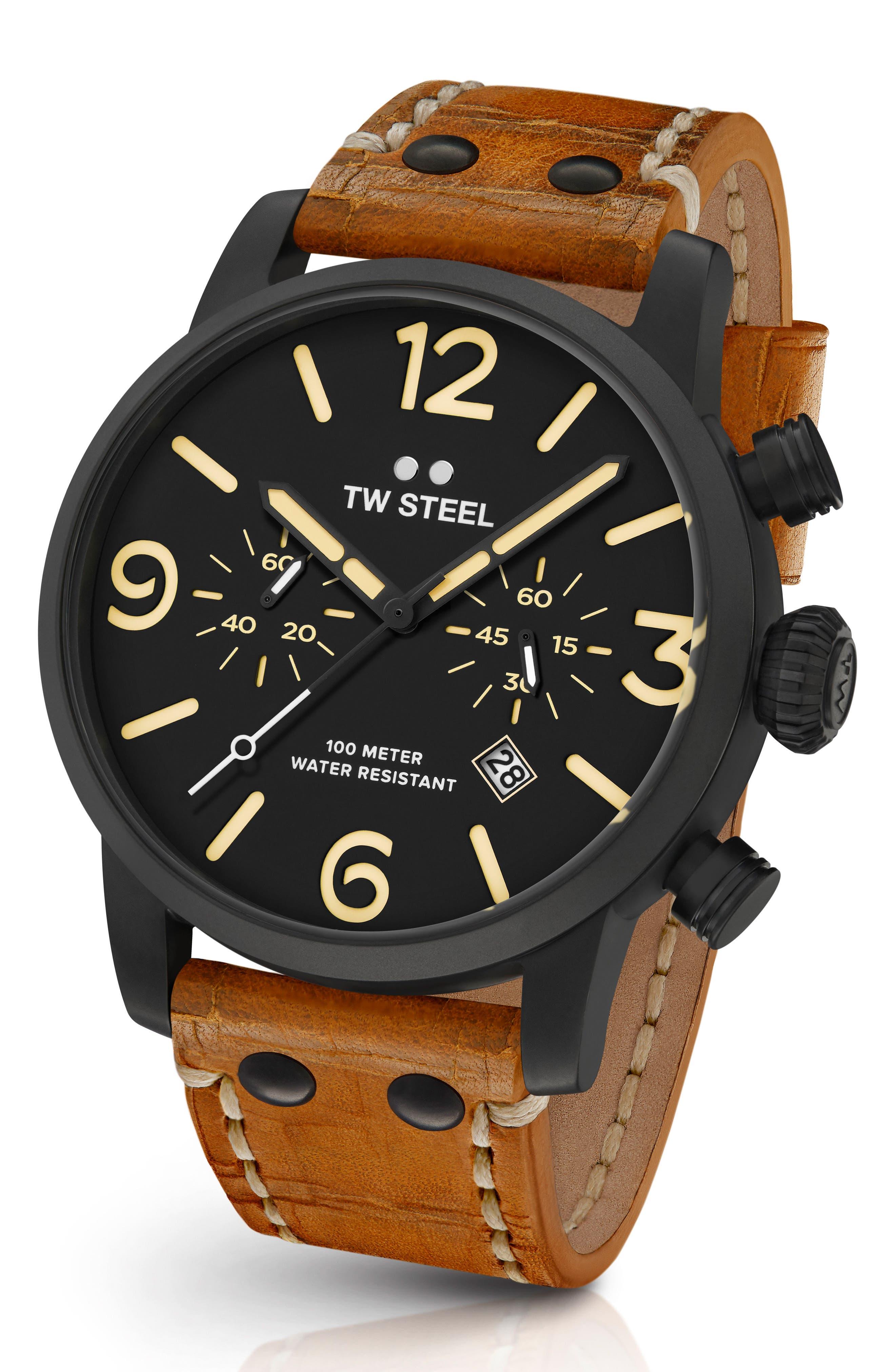TW STEEL Maverick Chronograph Leather Strap Watch, 48Mm in Sienna/ Black