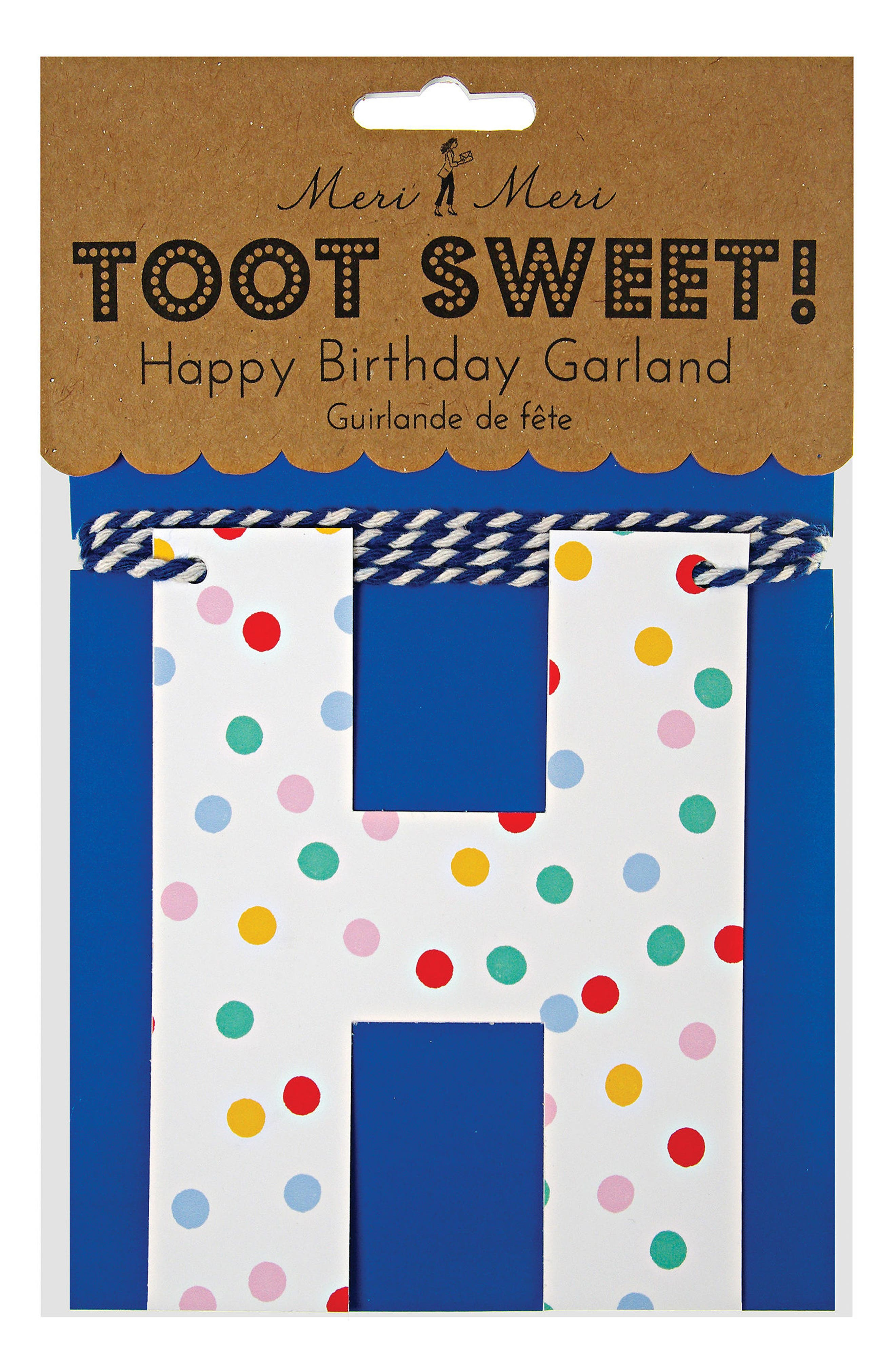 Toot Sweet - Spotty Happy Birthday Garland,                             Alternate thumbnail 2, color,                             Blue Multi