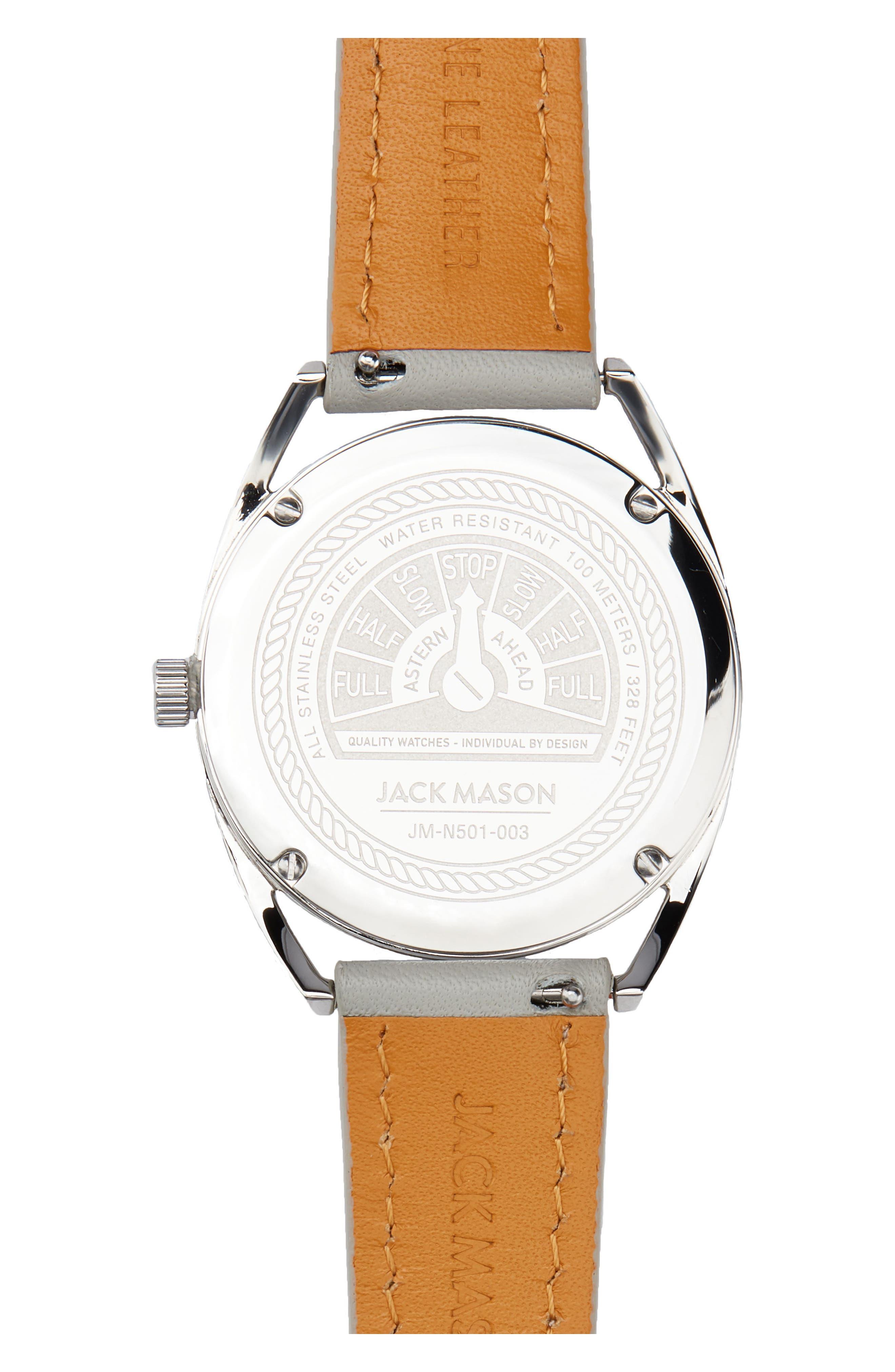 Alternate Image 2  - Jack Mason Deck Leather Strap Watch, 36mm