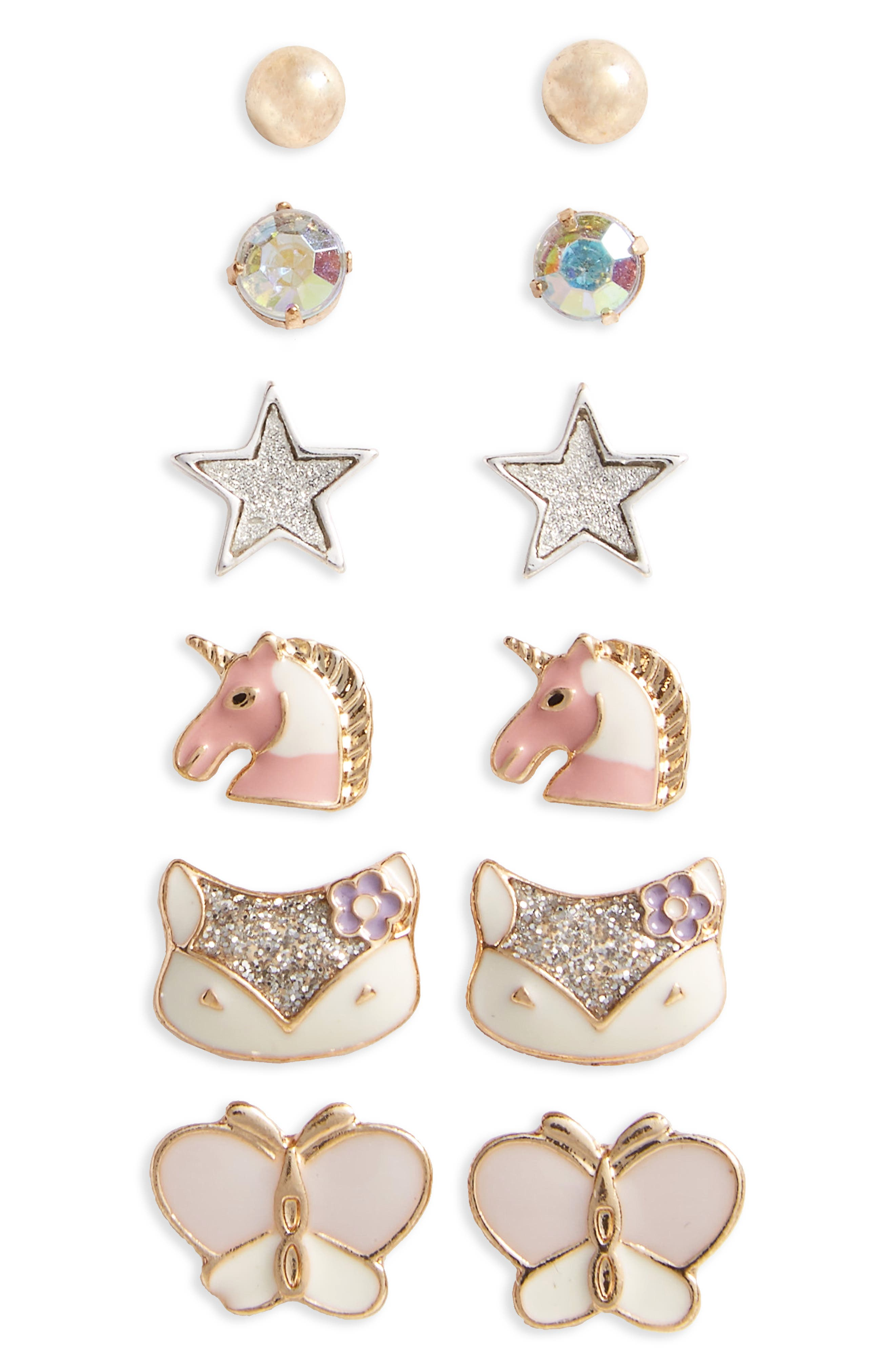 Capelli of New York 6-Pack Earrings (Big Girls)