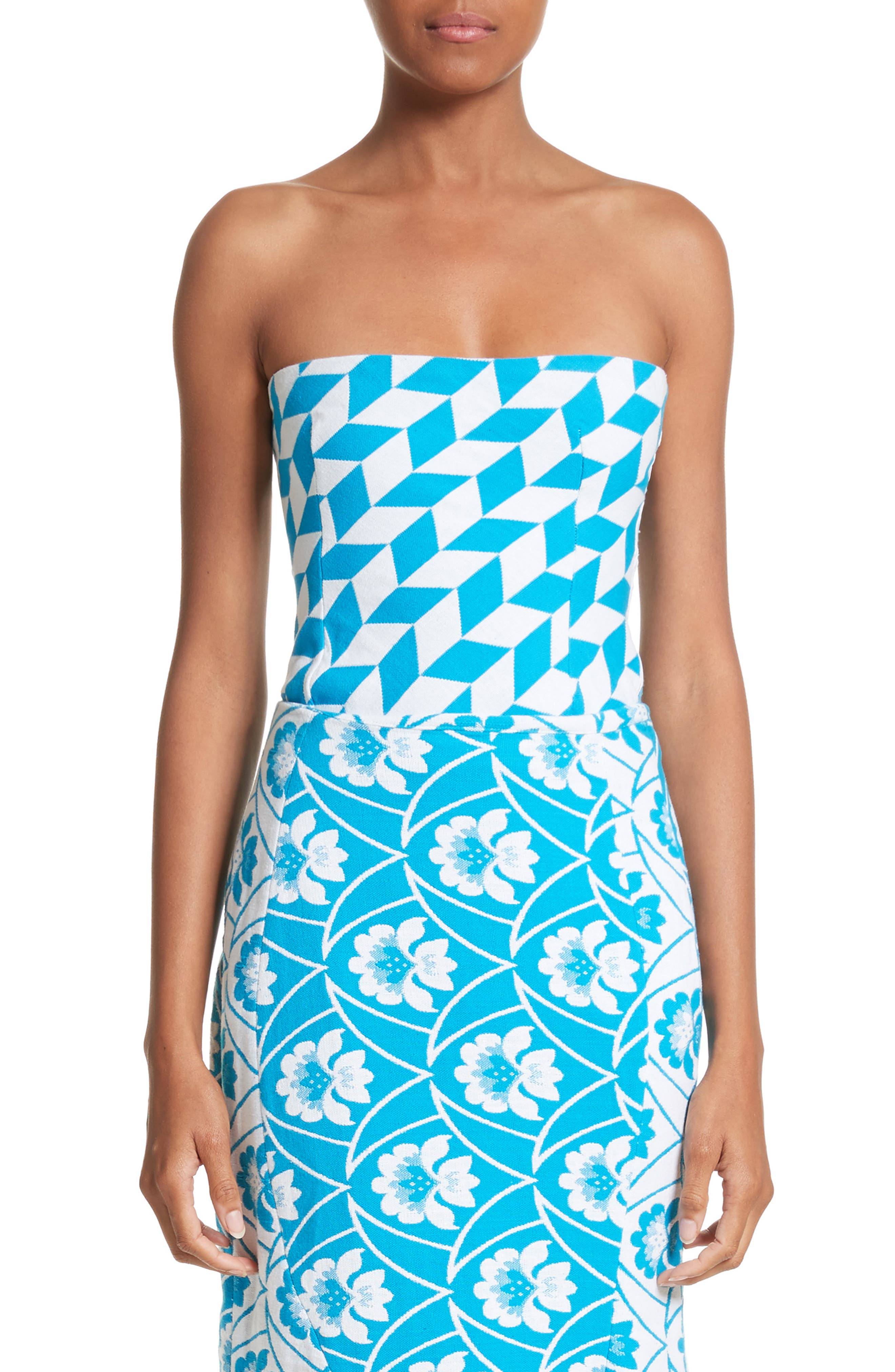 Simple Geo Pattern Bustier,                         Main,                         color, Blue White