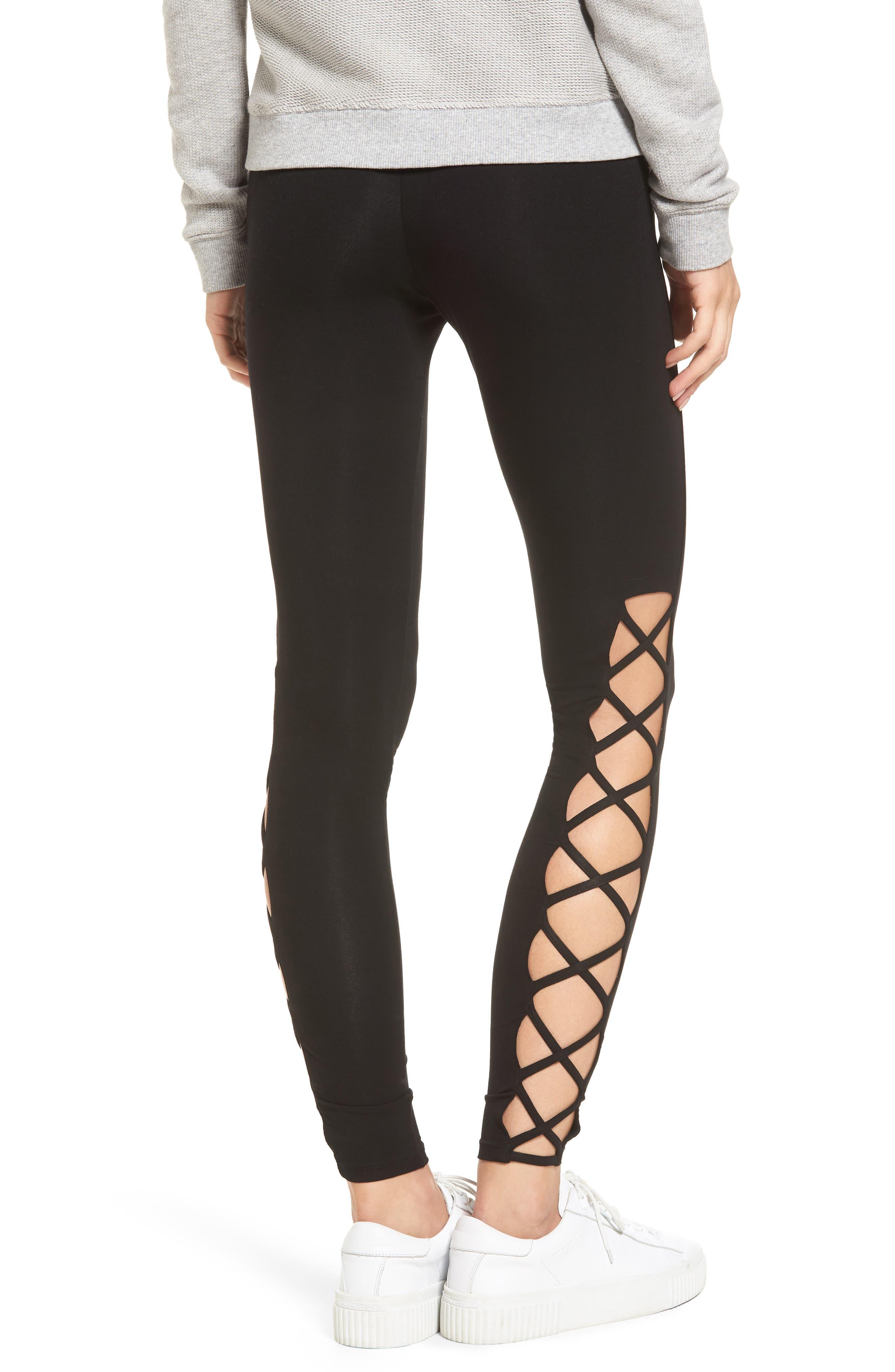 Lace-Up Leggings,                             Alternate thumbnail 2, color,                             Black