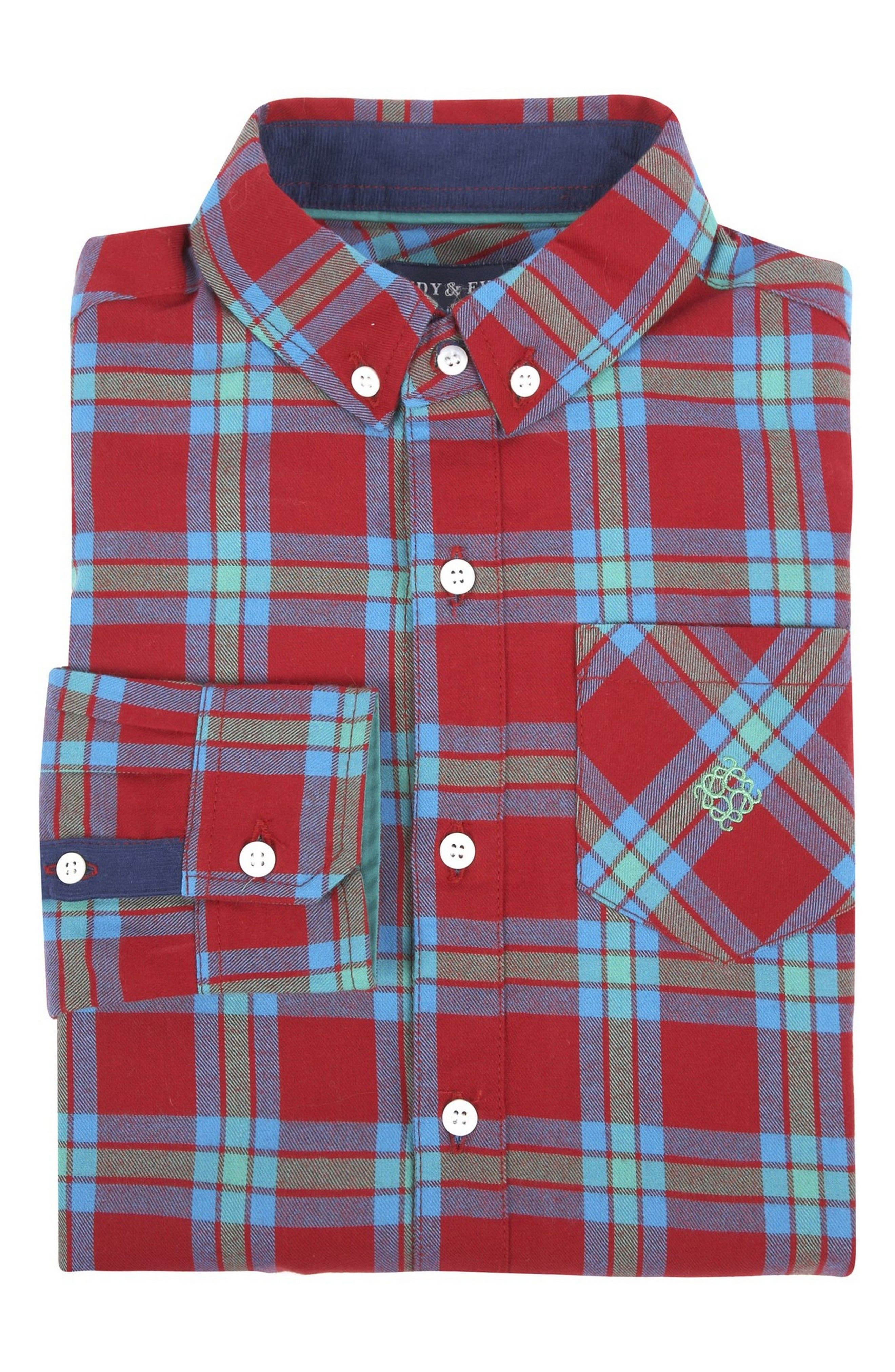 Andy & Evan Flannel Shirtzie Bodysuit (Baby Boys)