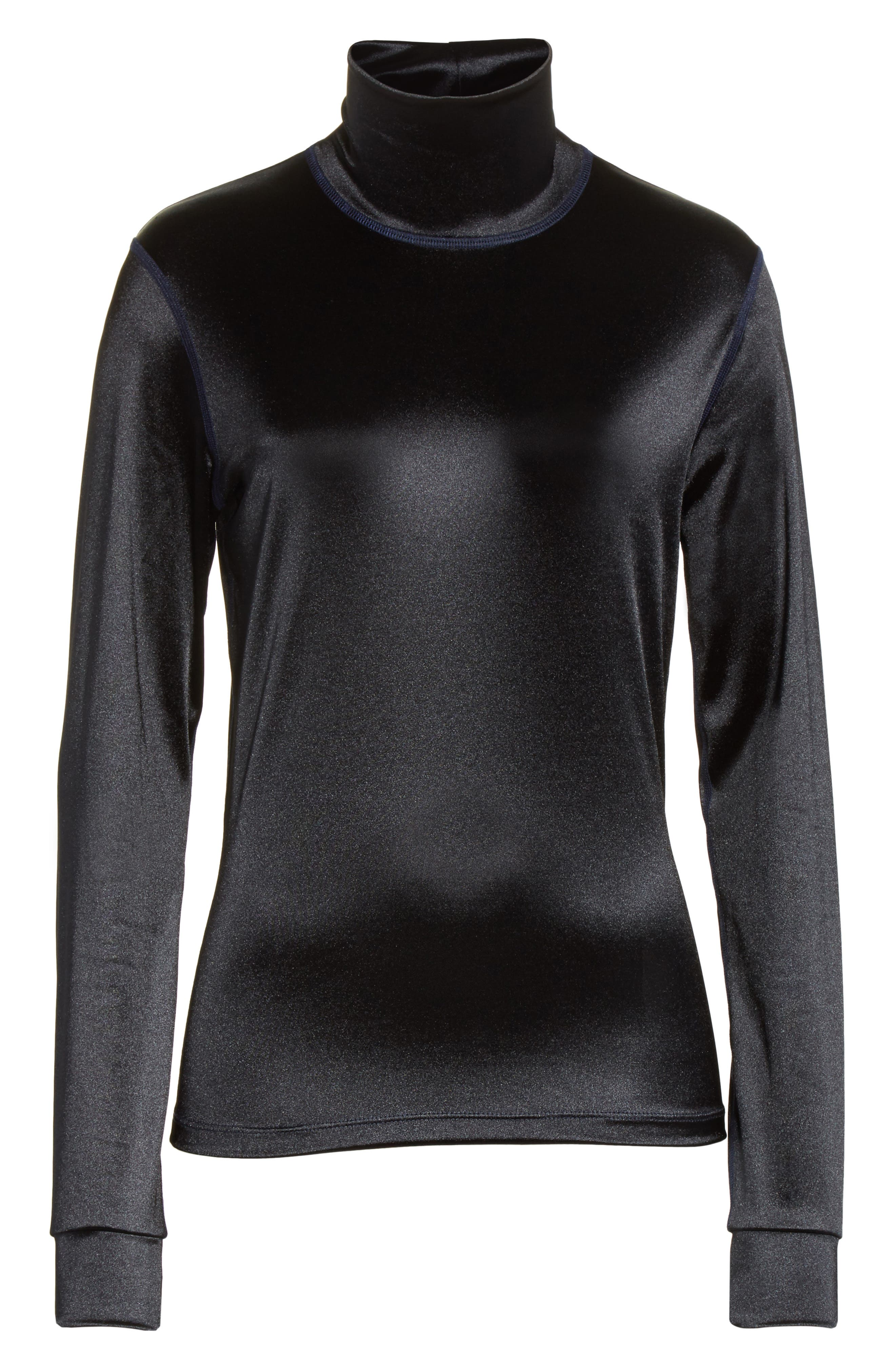 Sleek Stretch Turtleneck,                             Alternate thumbnail 8, color,                             Black