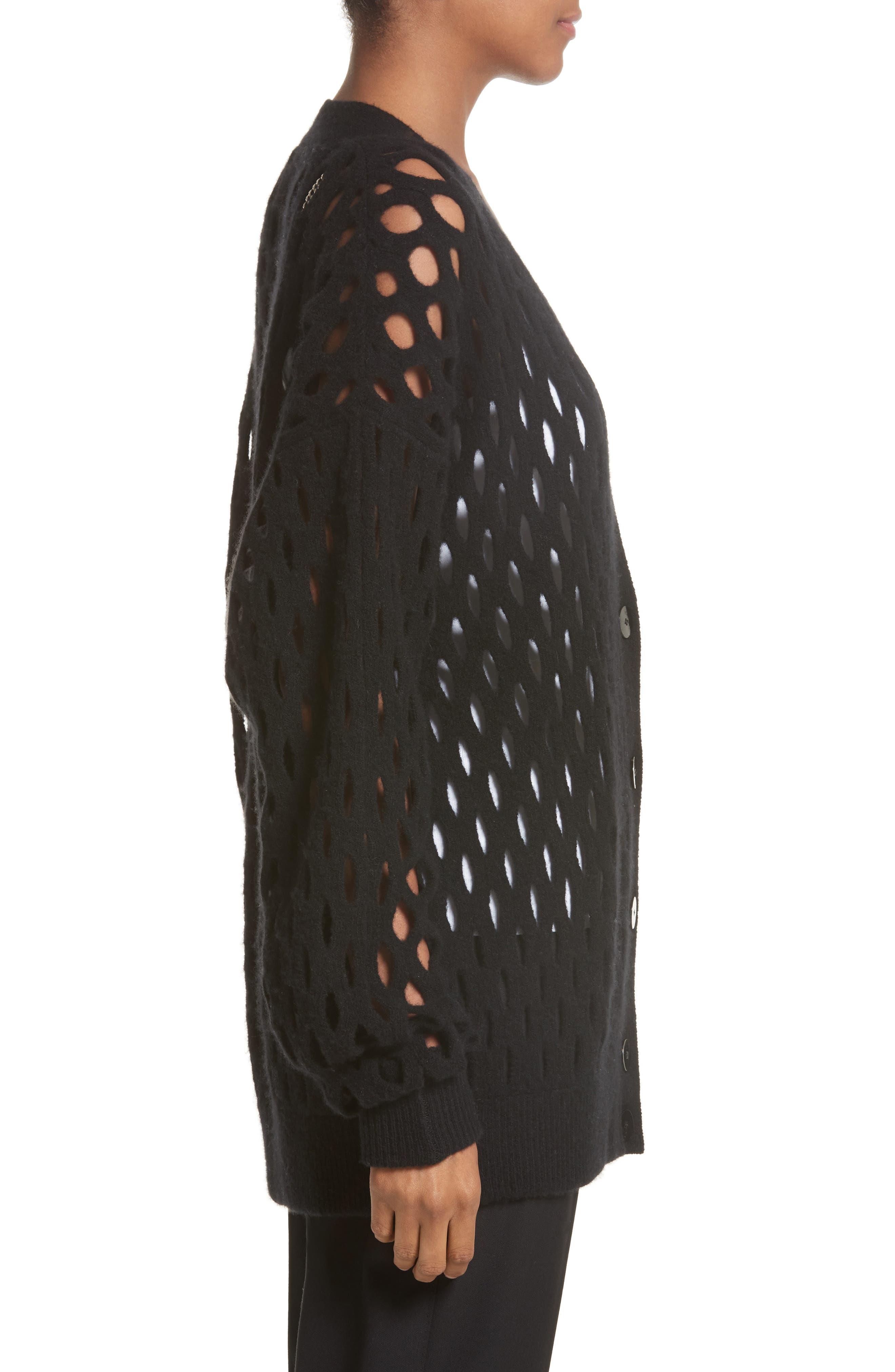 Intarsia Fishnet Cardigan,                             Alternate thumbnail 3, color,                             Black