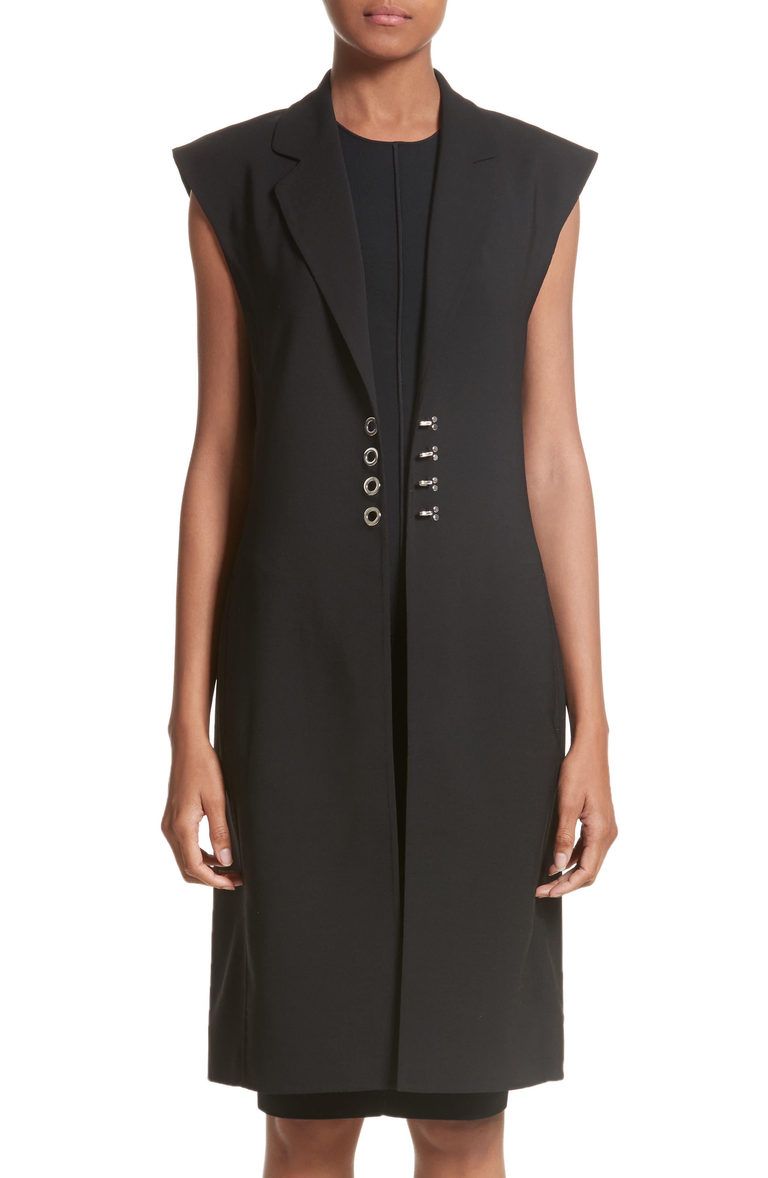 Hook Detail Stretch Wool Long Vest,                             Main thumbnail 1, color,                             Black/ Black