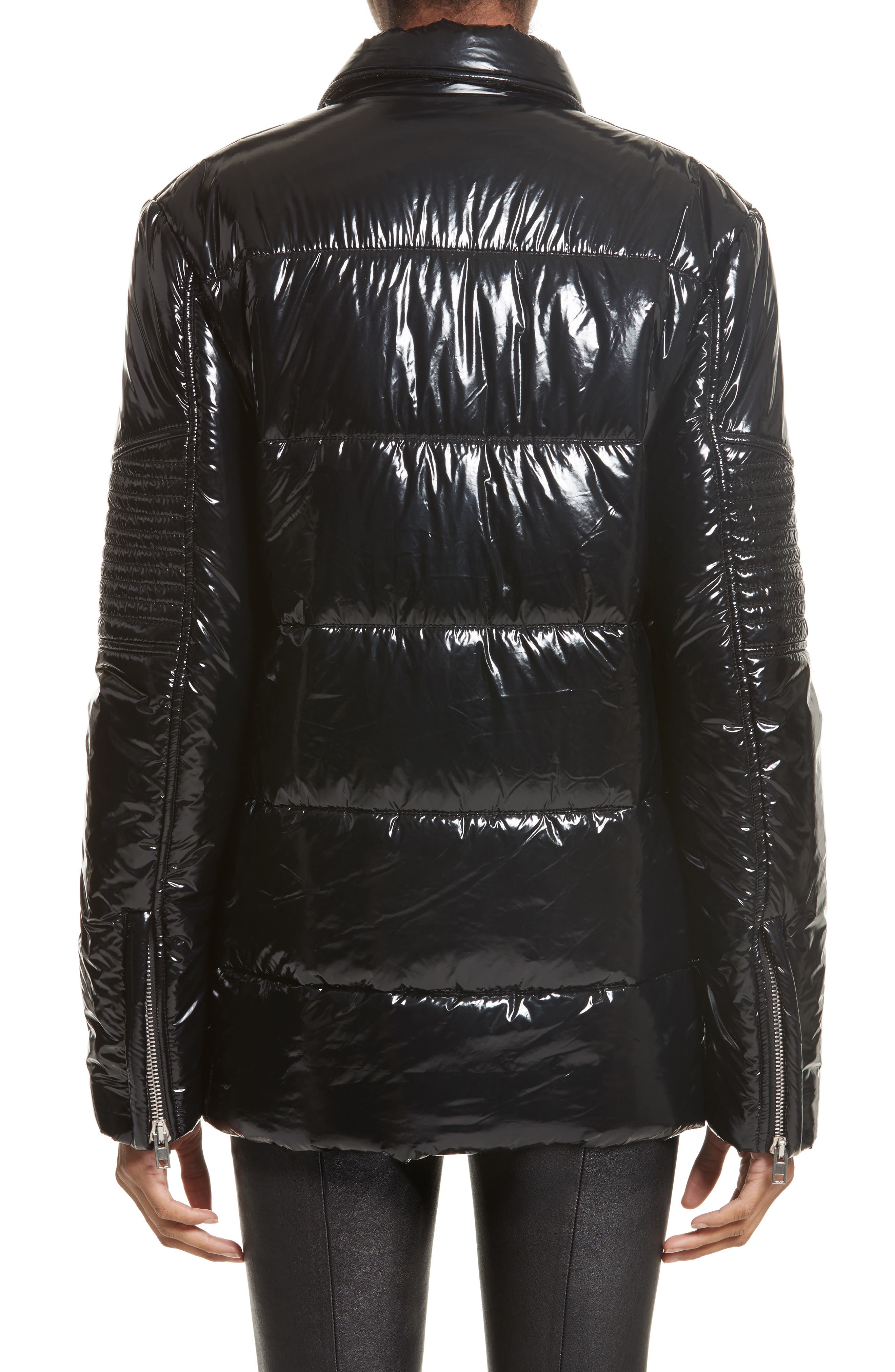 Moto Puffer Jacket,                             Alternate thumbnail 2, color,                             Black/ Black