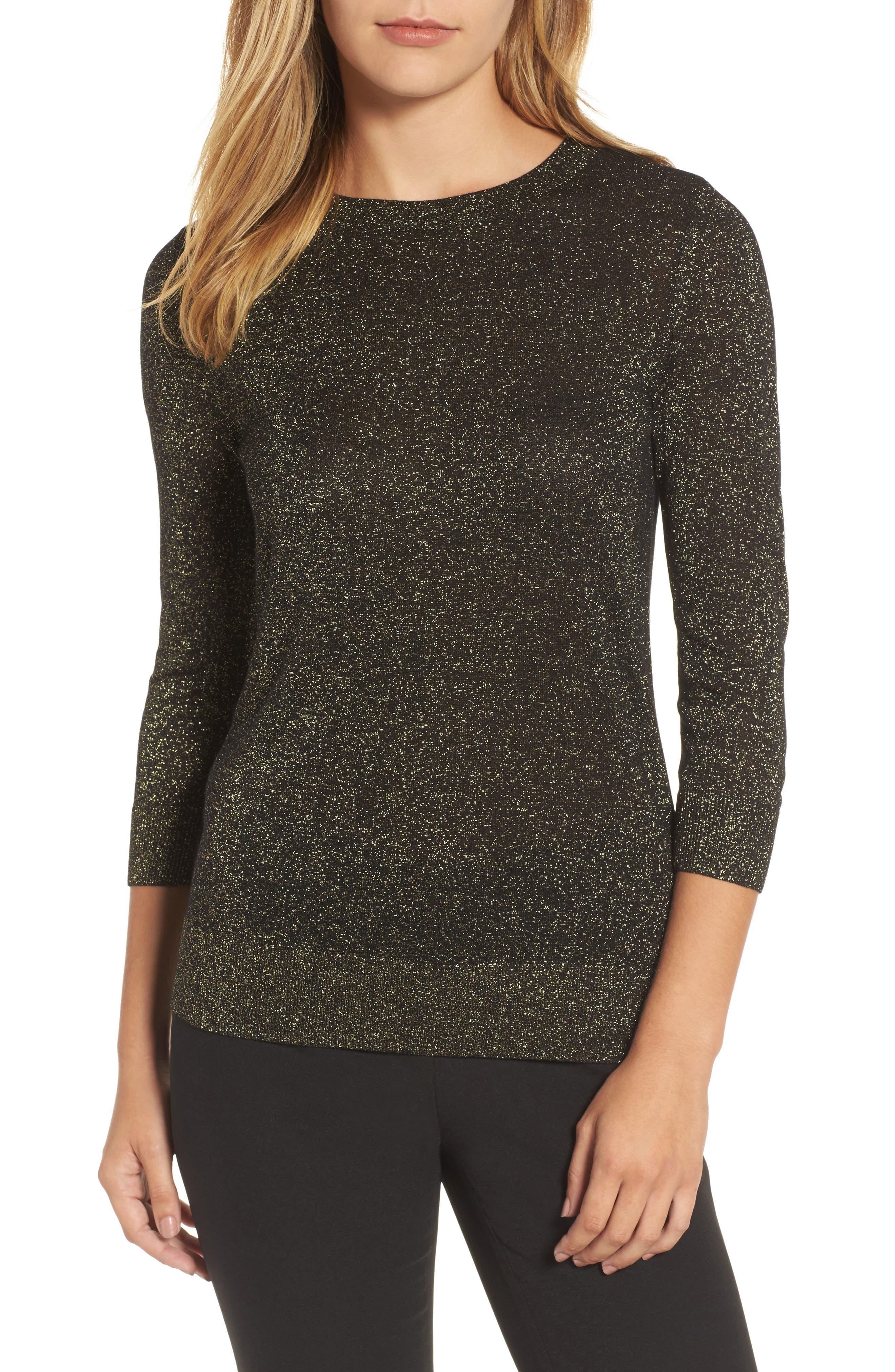 Shimmer Sweater,                             Main thumbnail 1, color,                             Black