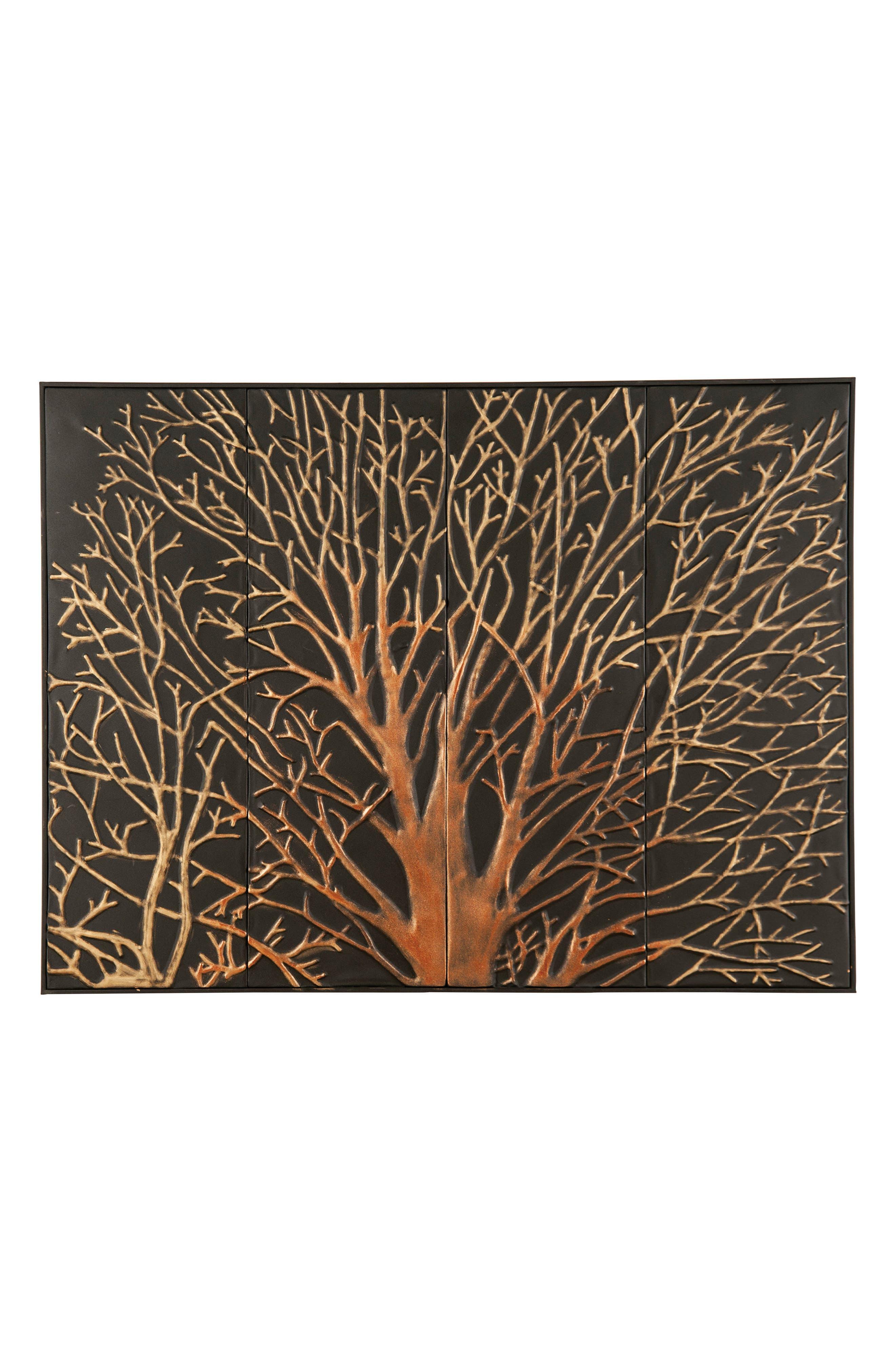 Mystic Tree Embossed Wall Art,                         Main,                         color, Metal