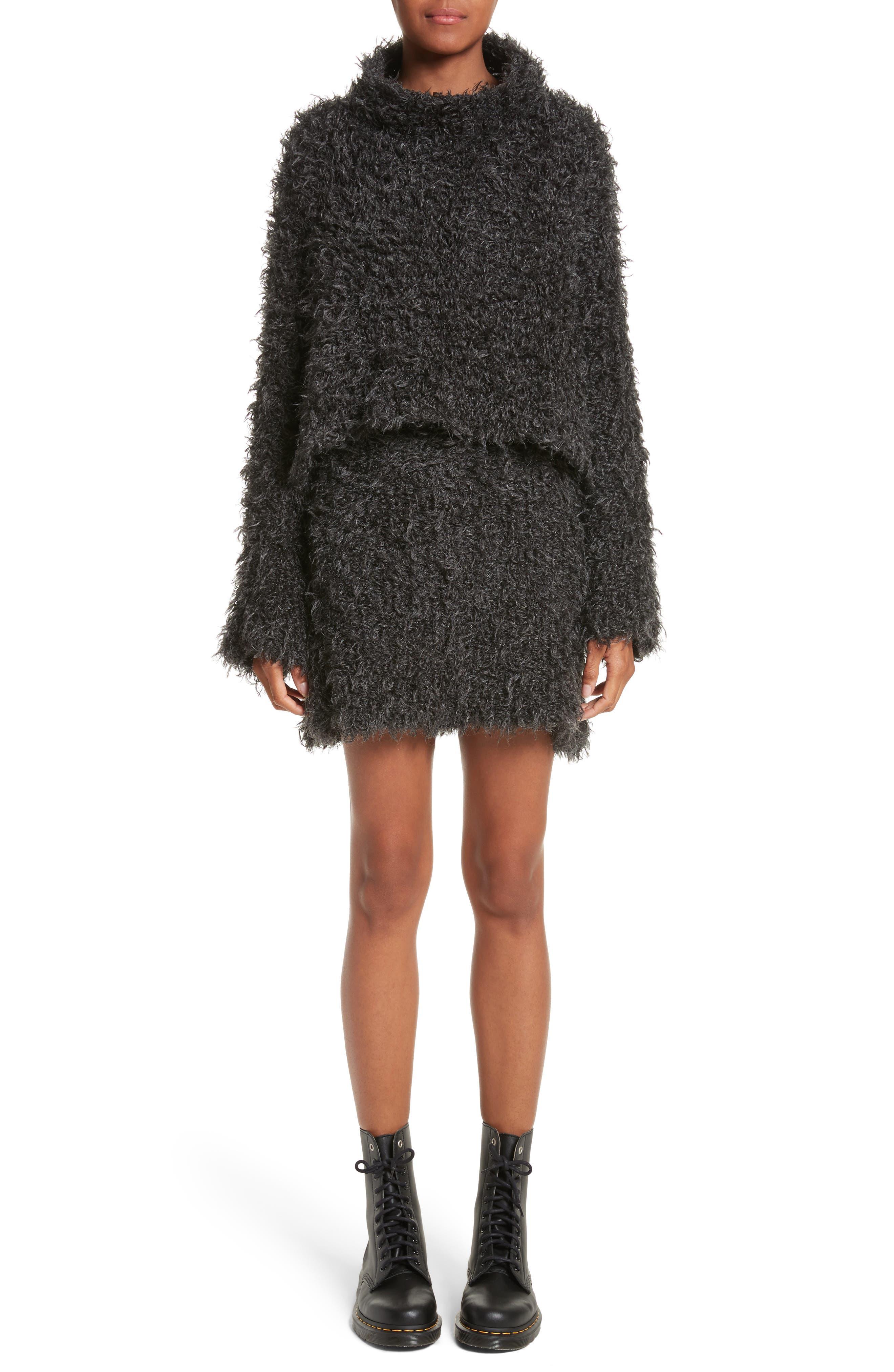 Fuzzy Miniskirt,                             Alternate thumbnail 8, color,                             Charcoal