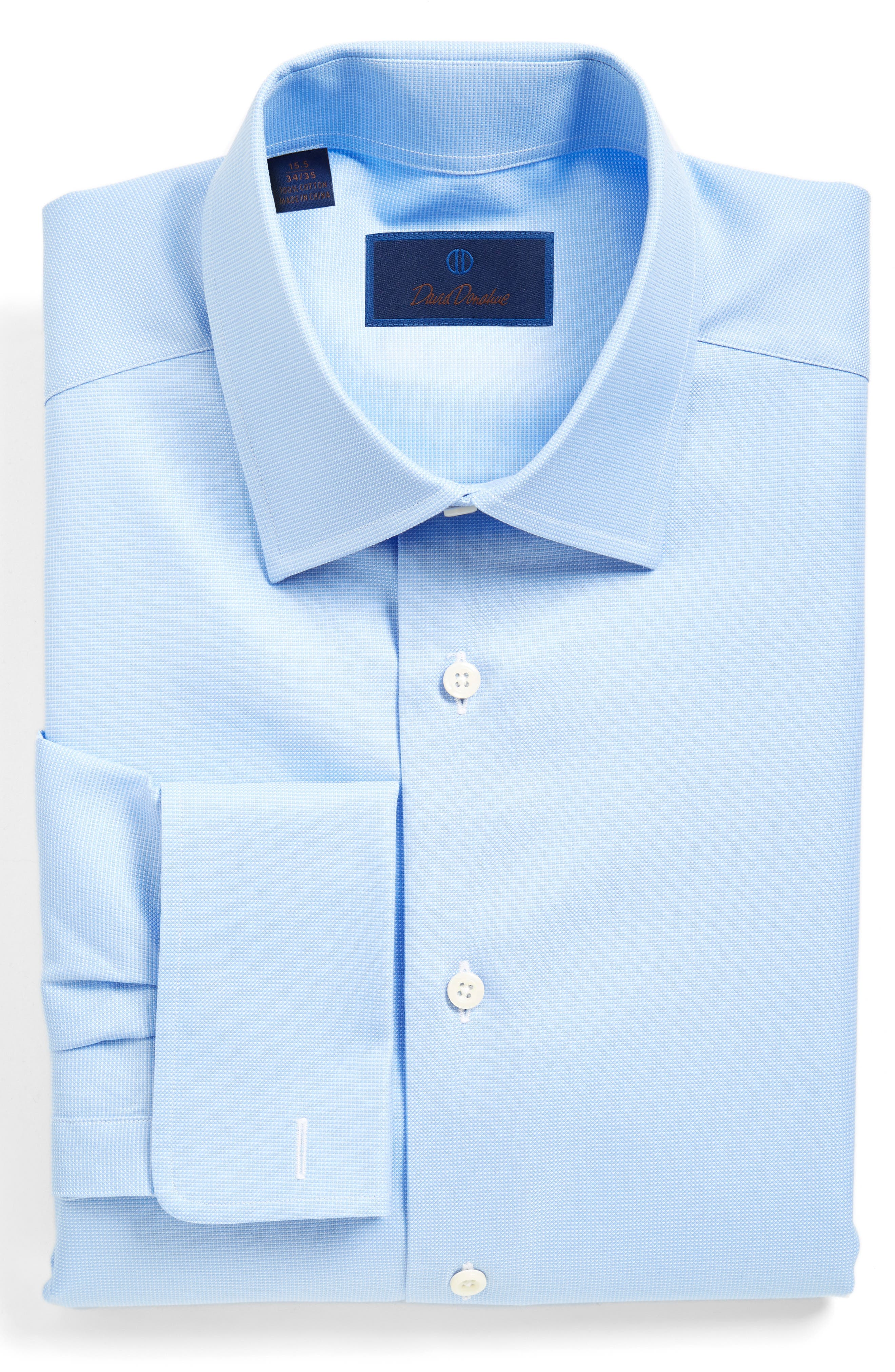 Regular Fit Dobby Check French Cuff Dress Shirt,                         Main,                         color, Blue