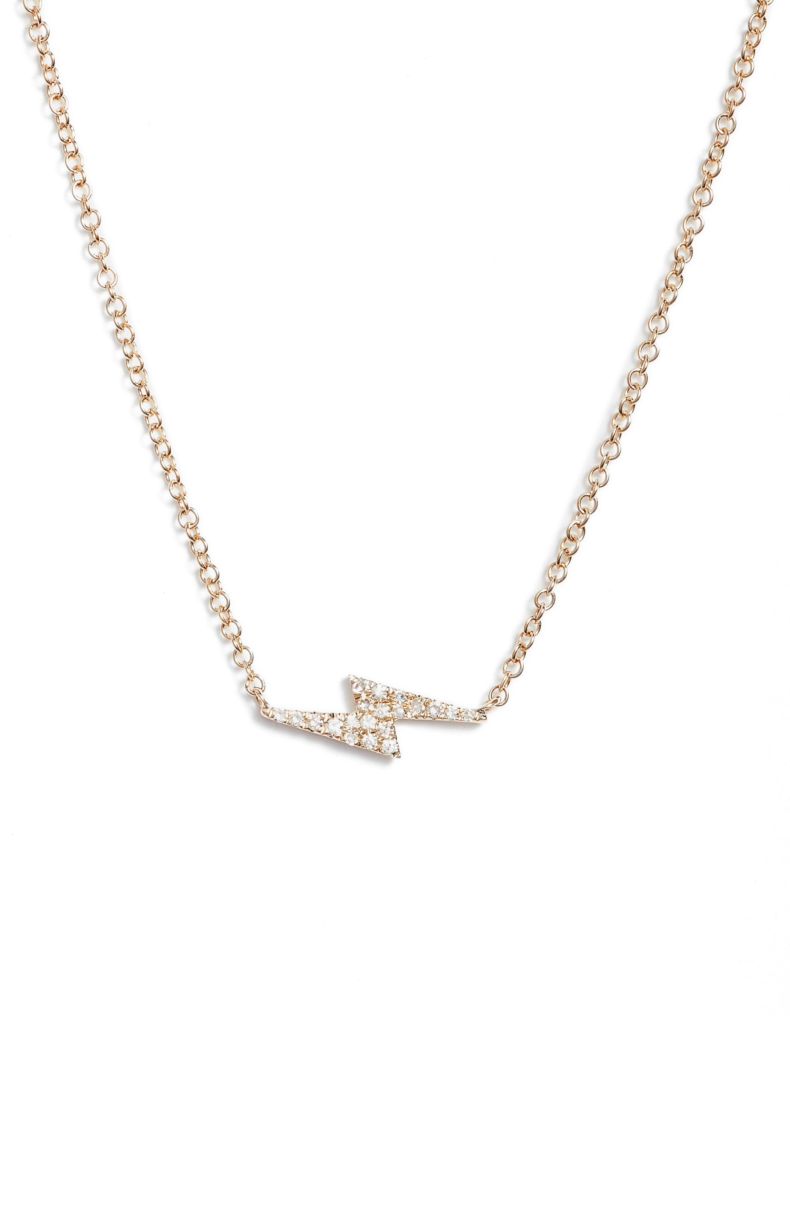Diamond Lightning Bolt Pendant Necklace,                         Main,                         color, Yellow Gold