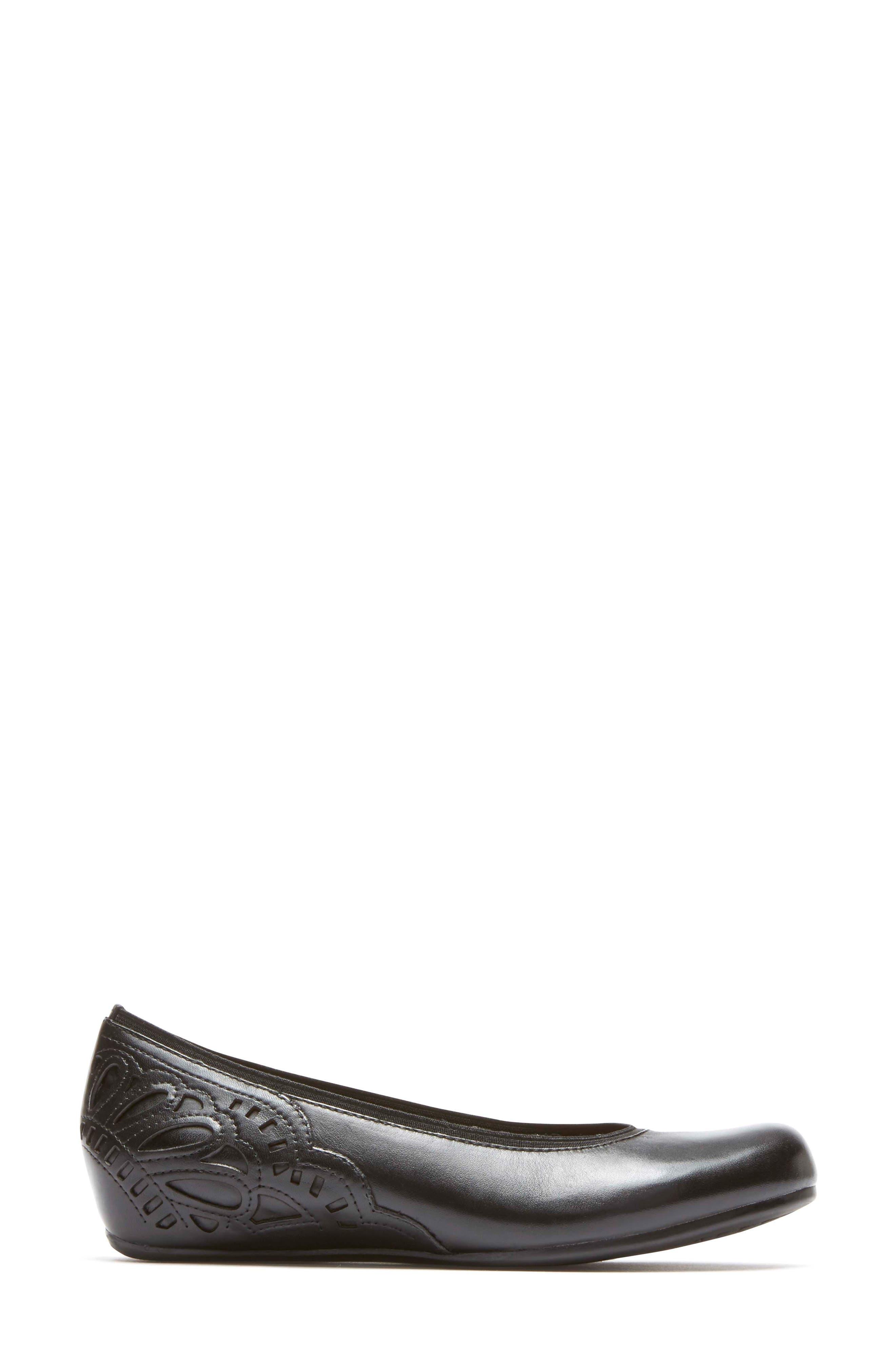 Sharleen Wedge Pump,                             Alternate thumbnail 3, color,                             Black Leather