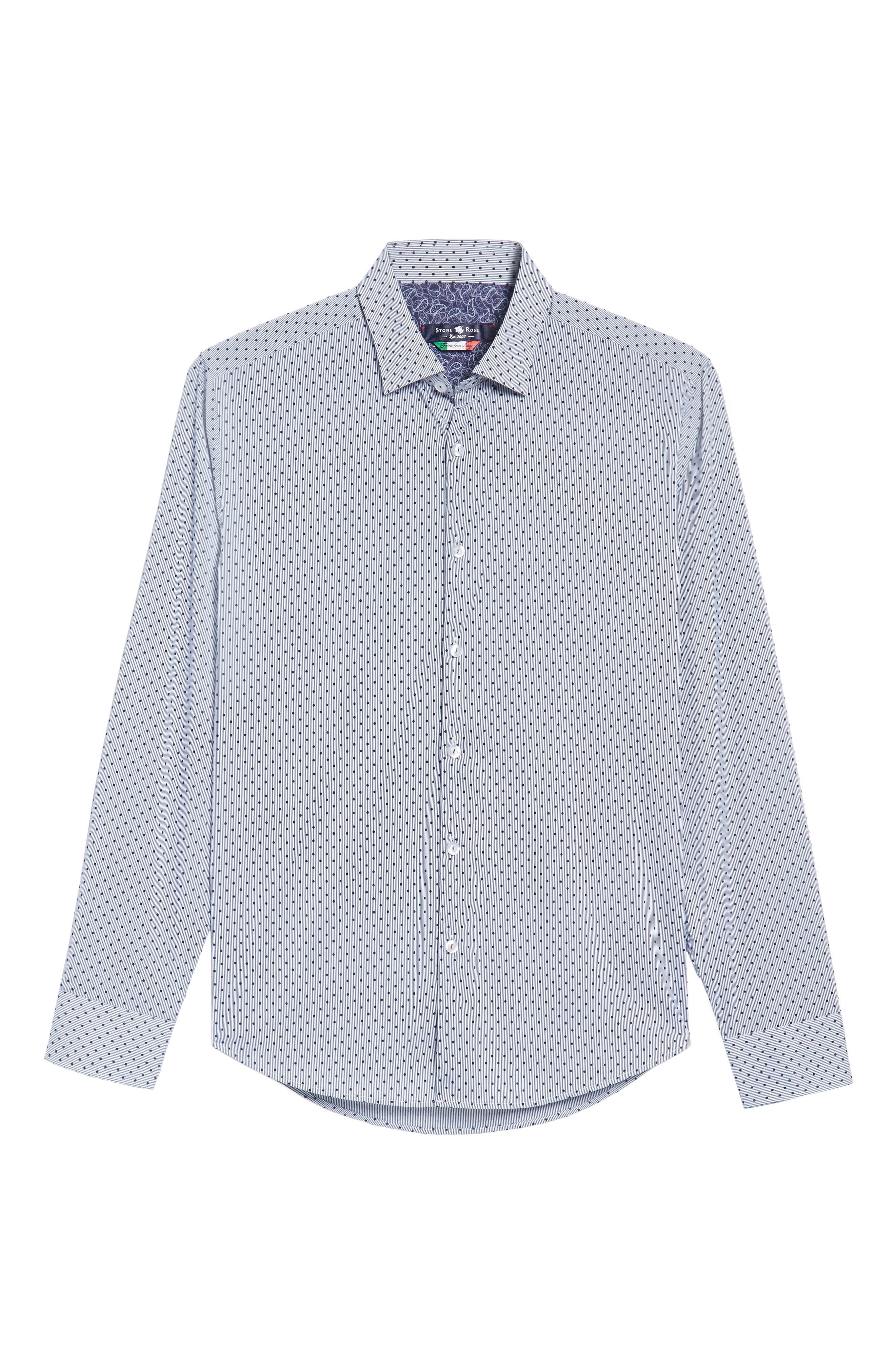 Alternate Image 6  - Stone Rose Slim Fit Flocked Dot Stripe Sport Shirt